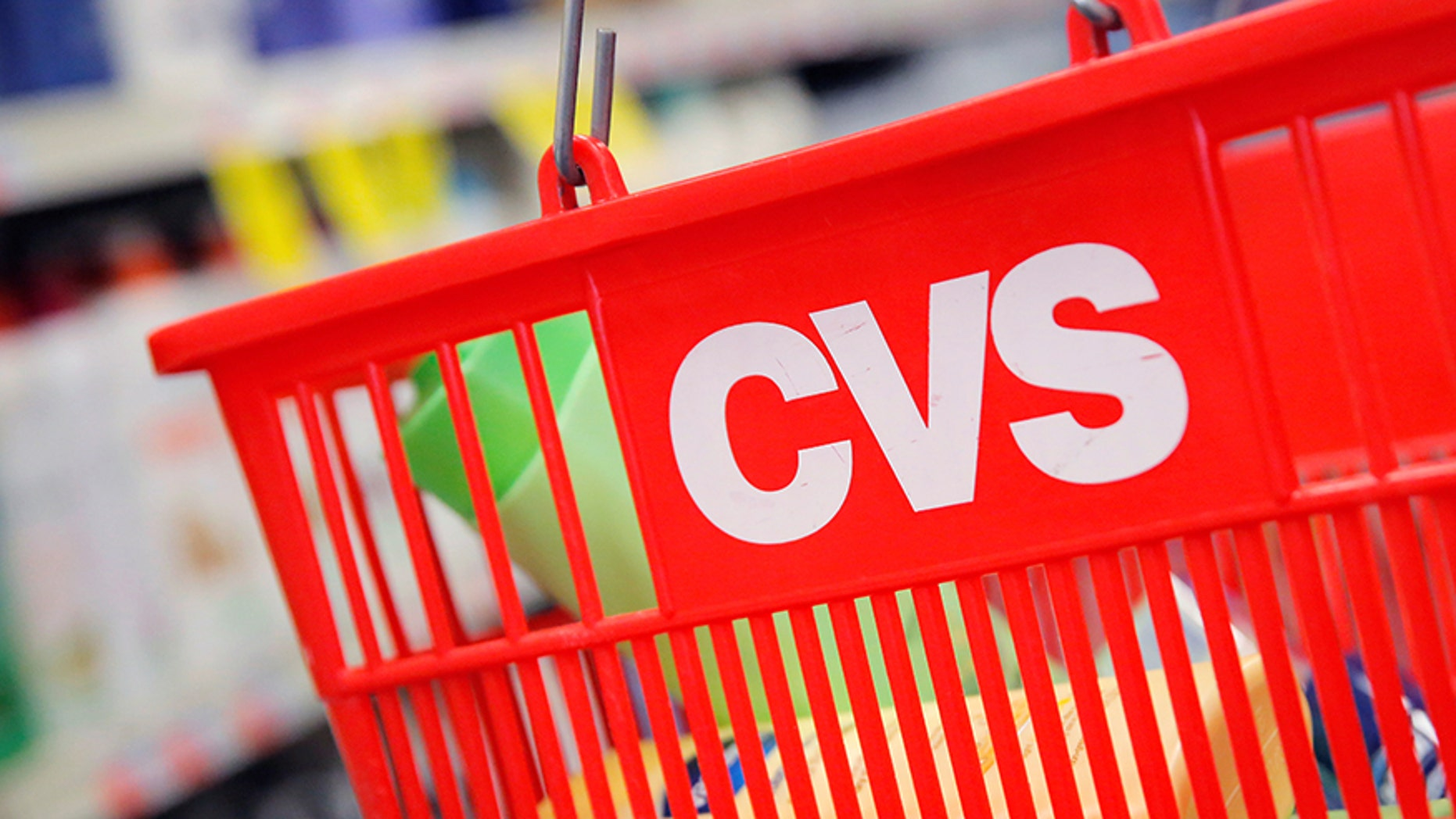The CVS logo on a basket at one of their stores.