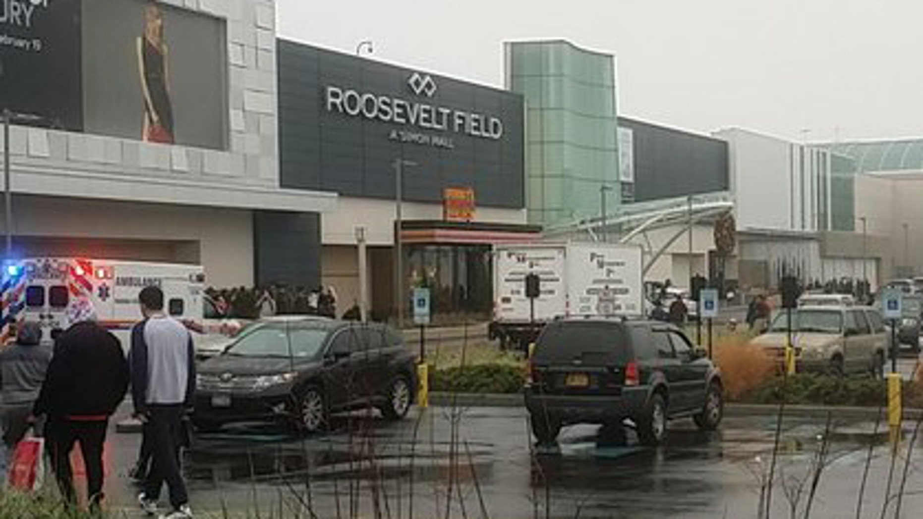 The scene outside Roosevelt Field Mall on Tuesday afternoon.