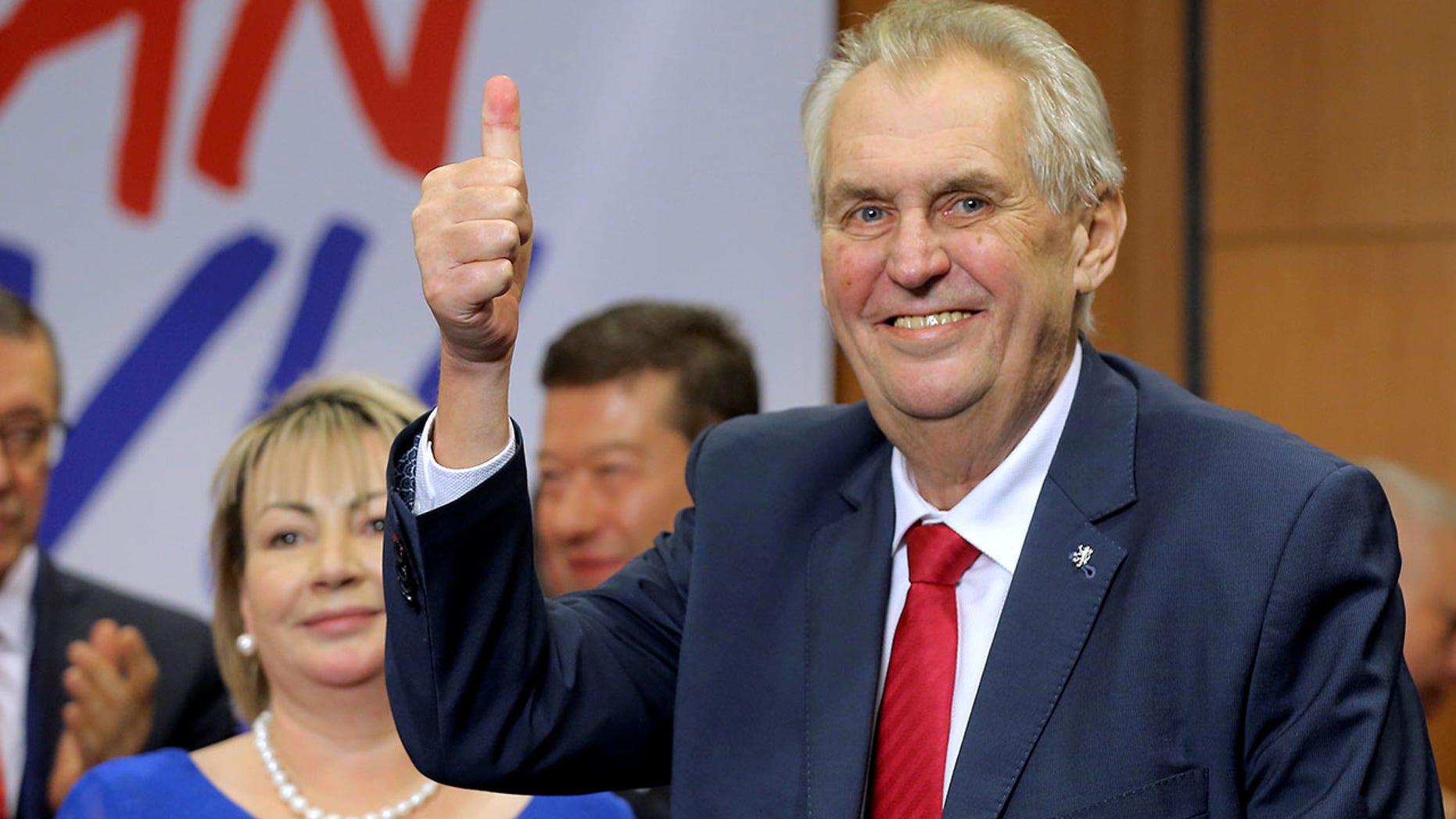 Czech President Milos Zeman defeated challenger Jiri Drahos in a presidential runoff Saturday.