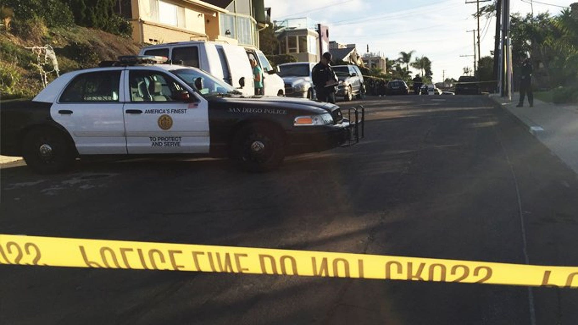 The crime scene in the San Diego neighborhood of Point Loma.