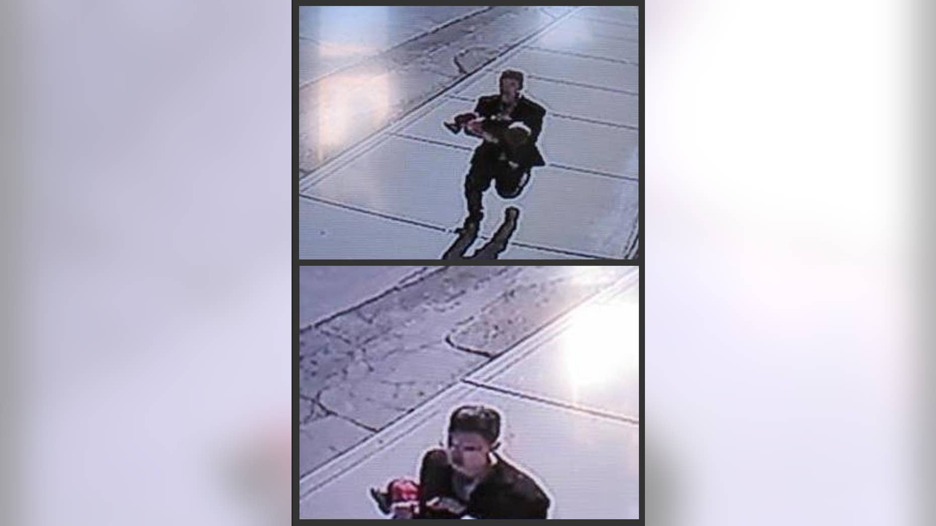 In this combination of still images taken from surveillance video on Sunday, March 8, 2015, and provided by the Lincoln County Sheriff's Office, a man runs down a street, carrying a toddler in an apparent kidnapping attempt in Sprague, Wash. The video shows the boy's young sister chasing after the man, who set the boy down and ran off. Lincoln County Sheriff Wade Magers says officers don't have any leads in the search for the suspect, but they don't believe the man is a resident of the town of about 500 people. The boy, 22-month-old Owen Wright, was unhurt. (AP Photo/Lincoln County Sheriff's Office)