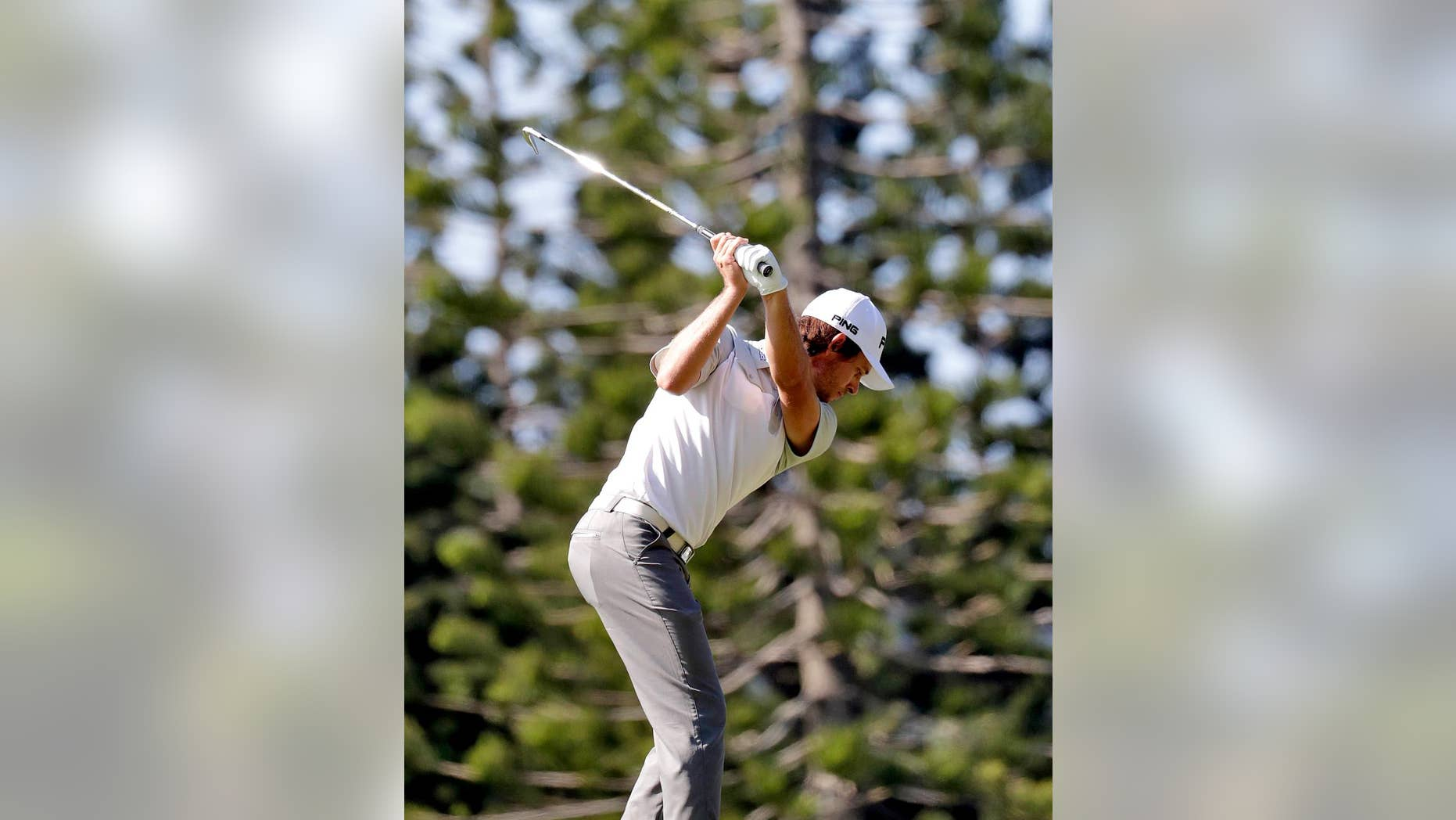 Aaron Baddeley, of Australia, hits from the second tee during the first round of the Tournament of Champions golf event, Thursday, Jan. 5, 2017, at Kapalua Plantation Course in Kapalua, Hawaii. (AP Photo/Matt York)