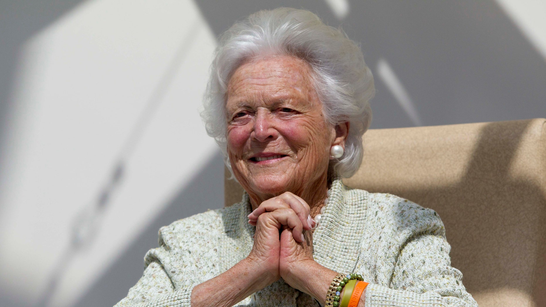 FILE - In a Thursday, Aug. 22, 2013 file photo, former first lady Barbara Bush listens to a patient's question during a visit to the Barbara Bush Children's Hospital at Maine Medical Center in Portland, Maine. Bush spokesman Jim McGrath says the wife of former President George H.W. Bush was released from Houston Methodist Hospital late Saturday morning, Jan. 5, 2014. The 88-year-old Bush family matriarch had been hospitalized since Monday. (AP Photo/Robert F. Bukaty, File)