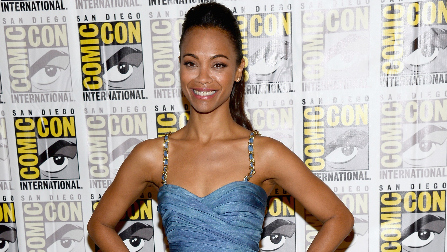 "Actress Zoe Saldana attends Marvel's ""Guardians of The Galaxy"" during Comic-Con International 2013 at Hilton San Diego Bayfront Hotel on July 20, 2013 in San Diego, California."