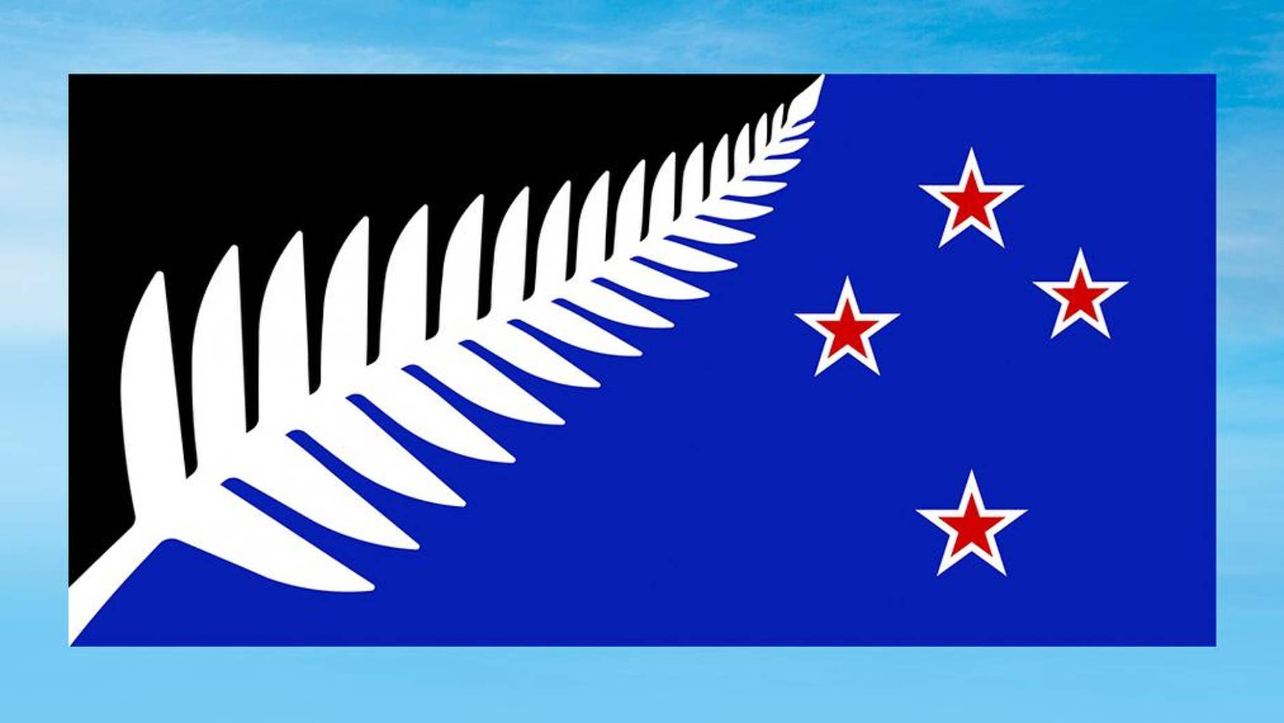 This undated illustration provided by the New Zealand Government shows a flag design; Silver Fern (Black, White and Blue) by Kyle Lockwood. Final results from a postal ballot were announced Tuesday, Dec. 15, 2015. The winning design features a silver fern and red stars on a black and blue background. The new design will now go head-to-head against the current flag in a national vote that will be held in March. (New Zealand Government via AP)