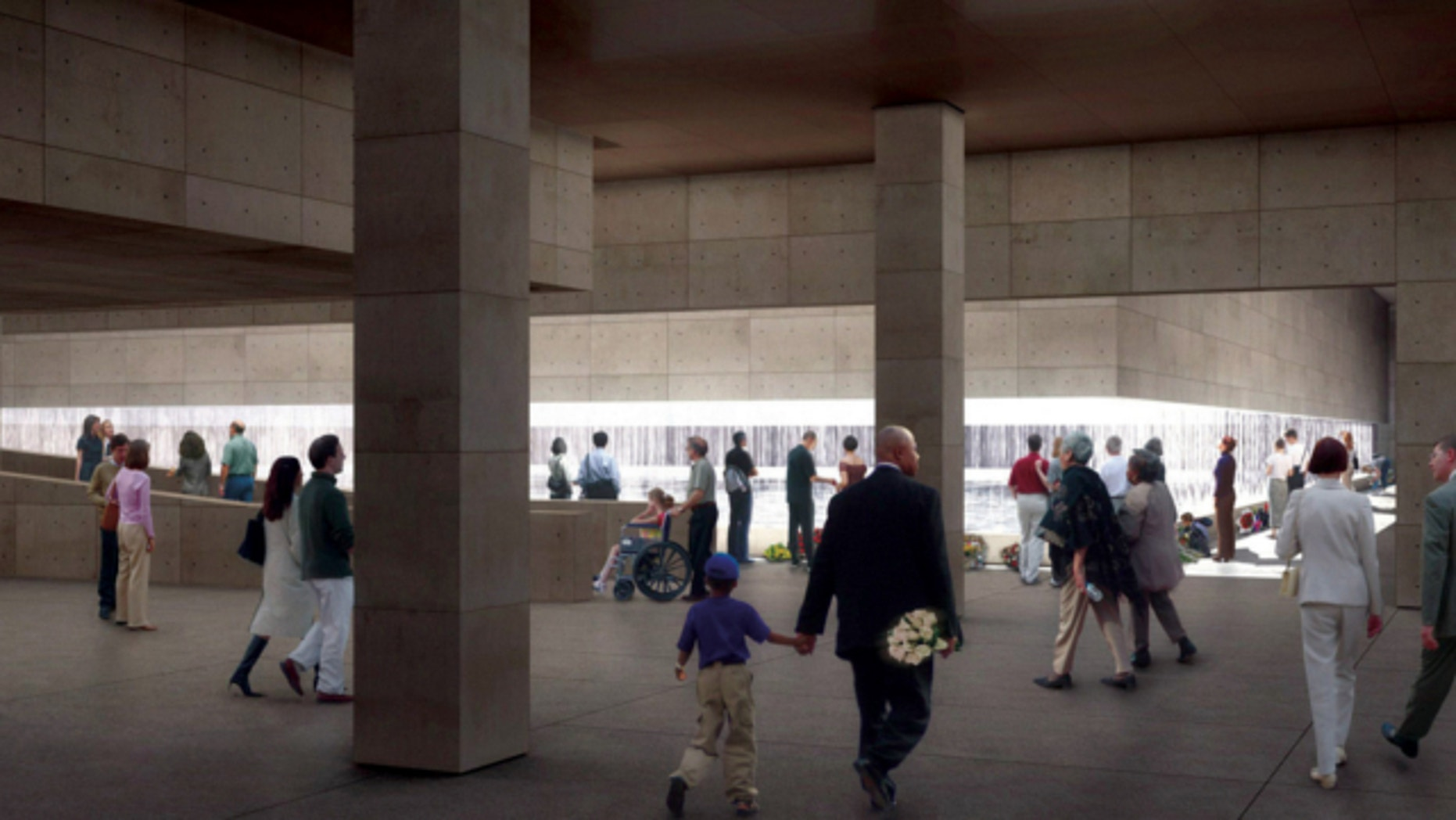 Dec. 16, 2004: In this artist rendering released by the Lower Manhattan Development Corporation, the Memorial Hall looking at the South Footprint is shown.