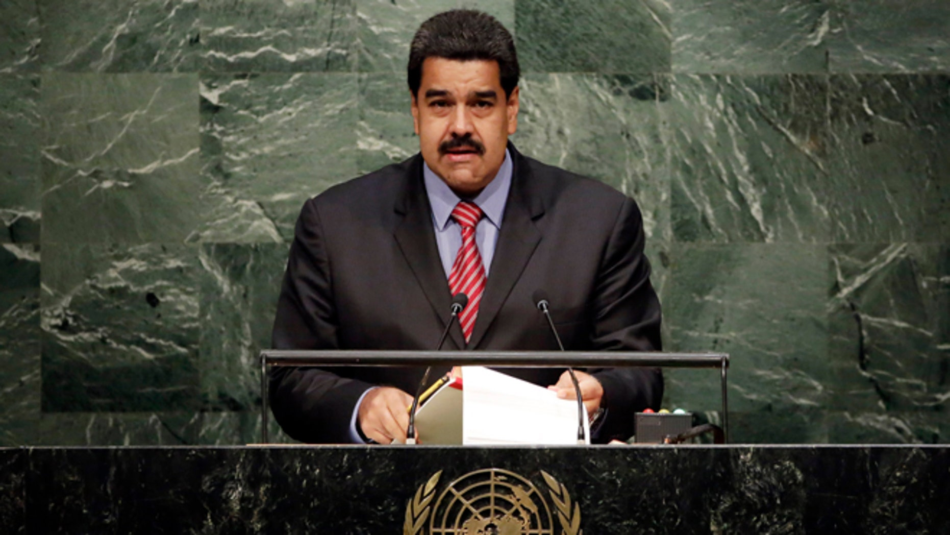 President Nicolas Maduro Moros, of Venezuela, addresses the 2015 Sustainable Development Summit, Sunday, Sept. 27, 2015, at United Nations headquarters. (AP Photo/Richard Drew)