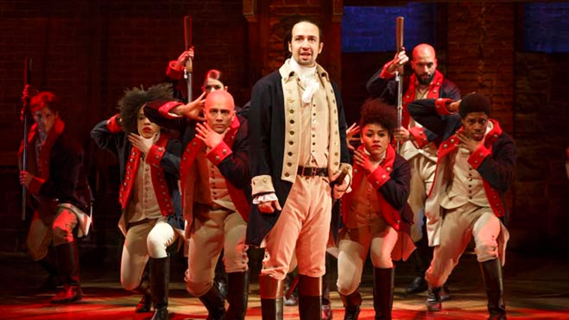 "Lin-Manuel Miranda during a performance of ""Hamilton,"" in New York."