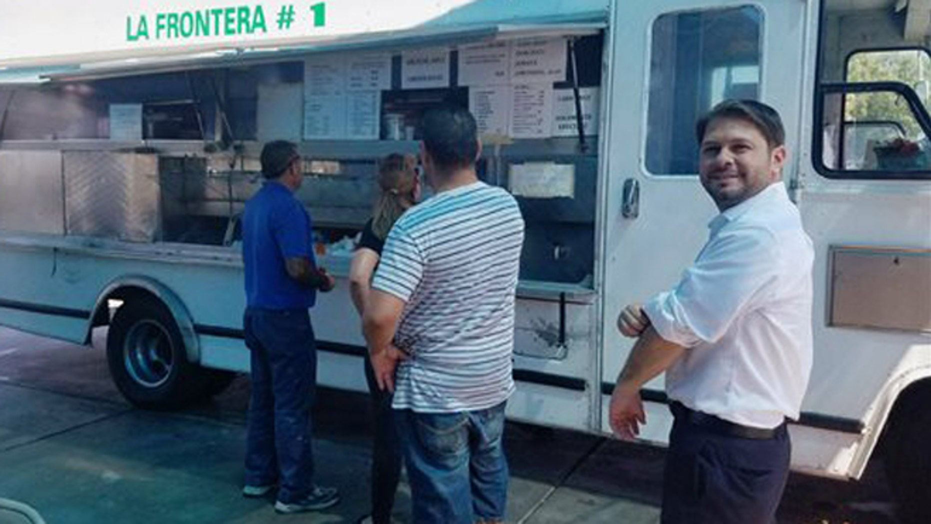 Rep. Ruben Gallego at a taco truck in Phoenix on Friday, Sept. 2, 2016.