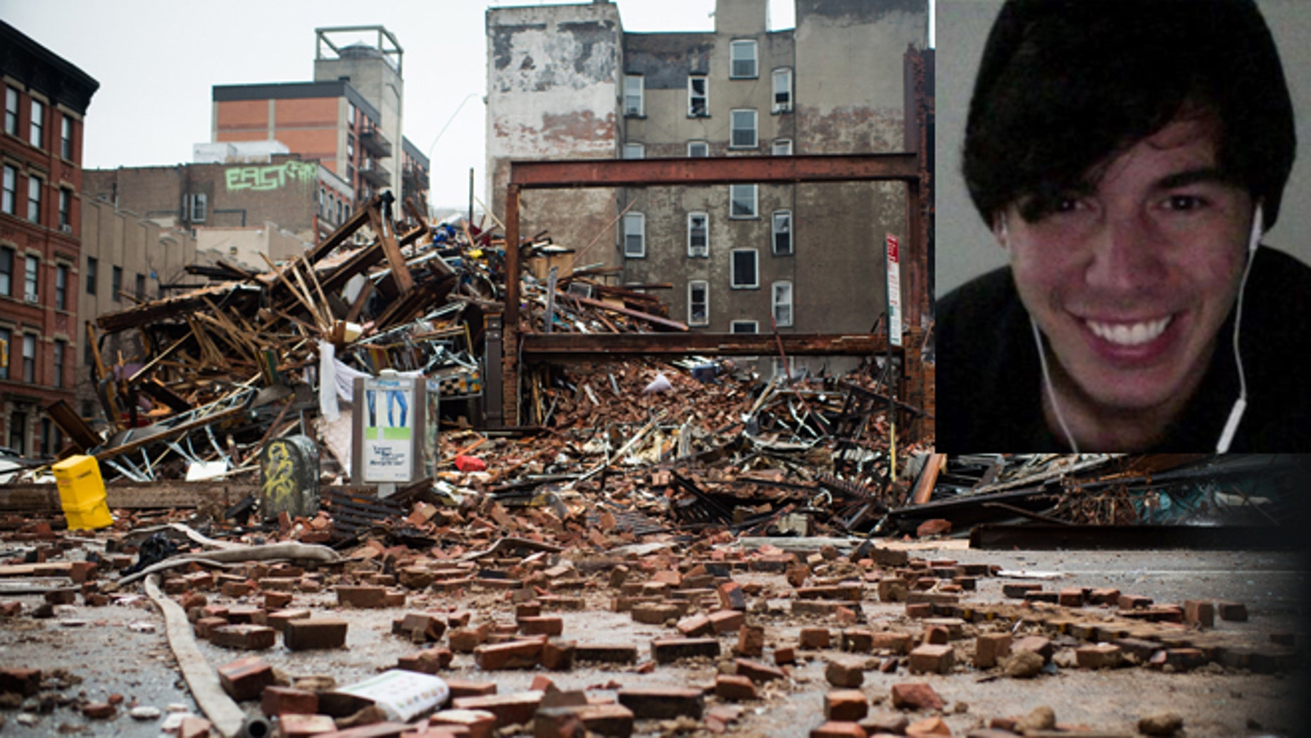A pile of debris remains at the site of a building explosion in the East Village neighborhood of New York, Friday, March 27, 2015.  Nineteen people were injured, four critically, after the powerful blast and fire sent flames soaring and debris flying Thursday afternoon. Inset: Nicholas Figueroa. (Photos: AP Photo/The New York Times, Nancy Borowick, Pool; Inset: Facebook)