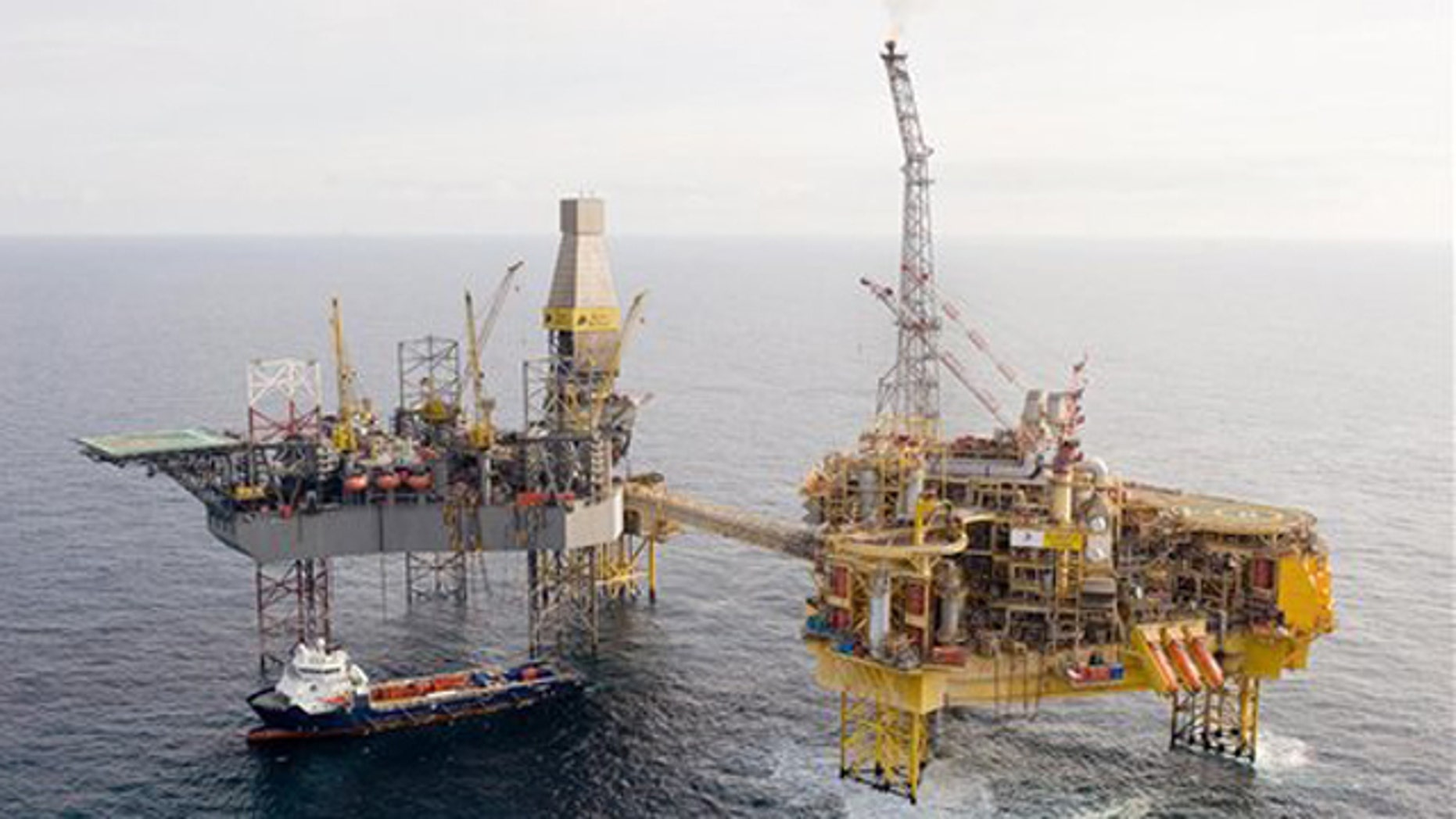 This is an undated handout photo issued by Total E&P UK Ltd of Total's Elgin PUQ (Process/Utilities/Quarters)  platform.