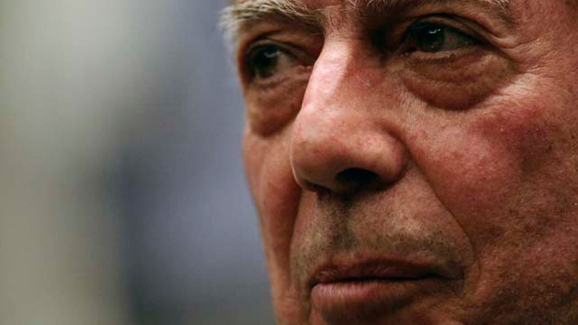 FILE - Peruvian writer Mario Vargas Llosa speaks during a news conference at the International Book Fair in Guadalajara, Mexico, in this Dec. 4, 2009 file photo. Mario Vargas Llosa won the 2010 Nobel Prize in literature Thursday Oct. 7, 2010. (AP Photo/Carlos Jasso, File)
