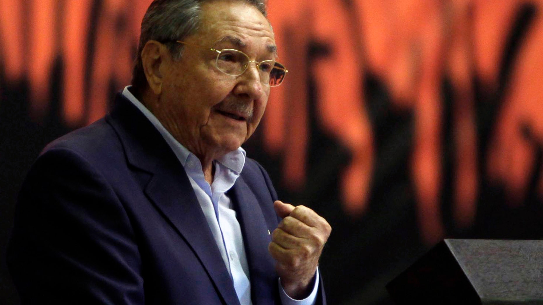 """Cuba's President Raul Castro speaks during the closing ceremony of the Communist Party Conference in Havana, Cuba, Saturday, Jan. 29, 2012. Cuba's Communist leaders vowed not to cede any ground to """"the enemy,"""" even as they pledged to fight corruption and continue overhauling the island's listing Marxist economy with an injection of free market reform.(AP Photo/Ismael Francisco, Prensa Latina)"""