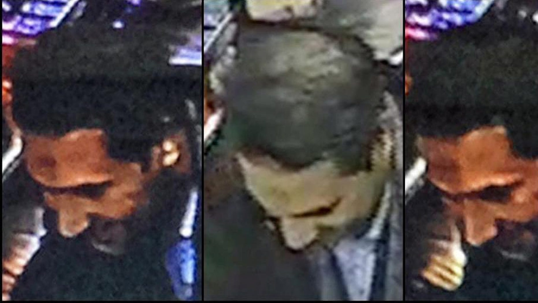 FILE - This is an  image provided by the Belgian Federal Police on Monday, March 21, 2016, a combo photograph shows Najim Laachraoui, who was previously identified in a false passport as Soufiane Kayal by Belgium Federal Police, during a money transfer on Nov. 17, 2015 in a Western Union bank in the Brussels region of Belgium. The lawyer for two former French hostages says the man who blew himself up at Brussels Airport on March 22 was once a jailor for the Islamic State group. Marie-Laure Ingouf says Najim Laachraoui, who built the explosive belts used in the assaults on both capitals and blew himself up at Brussels Airport on March 22, was one of several jihadis who held the radical Muslim group's hostages between 2013 and 2014. . (Belgian Federal Police via AP)