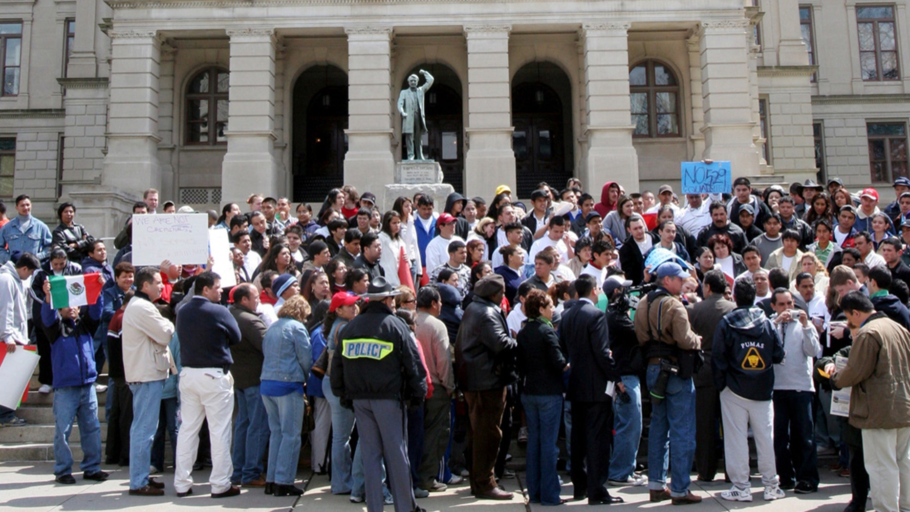 State legislatures across the country considered a record number of proposals dealing with immigration, particularly undocumented immigrants. The proposals sparked numerous protests around the country, such as the one above, in Georgia, which passed a law aimed at cracking down on undocumented immigrants.