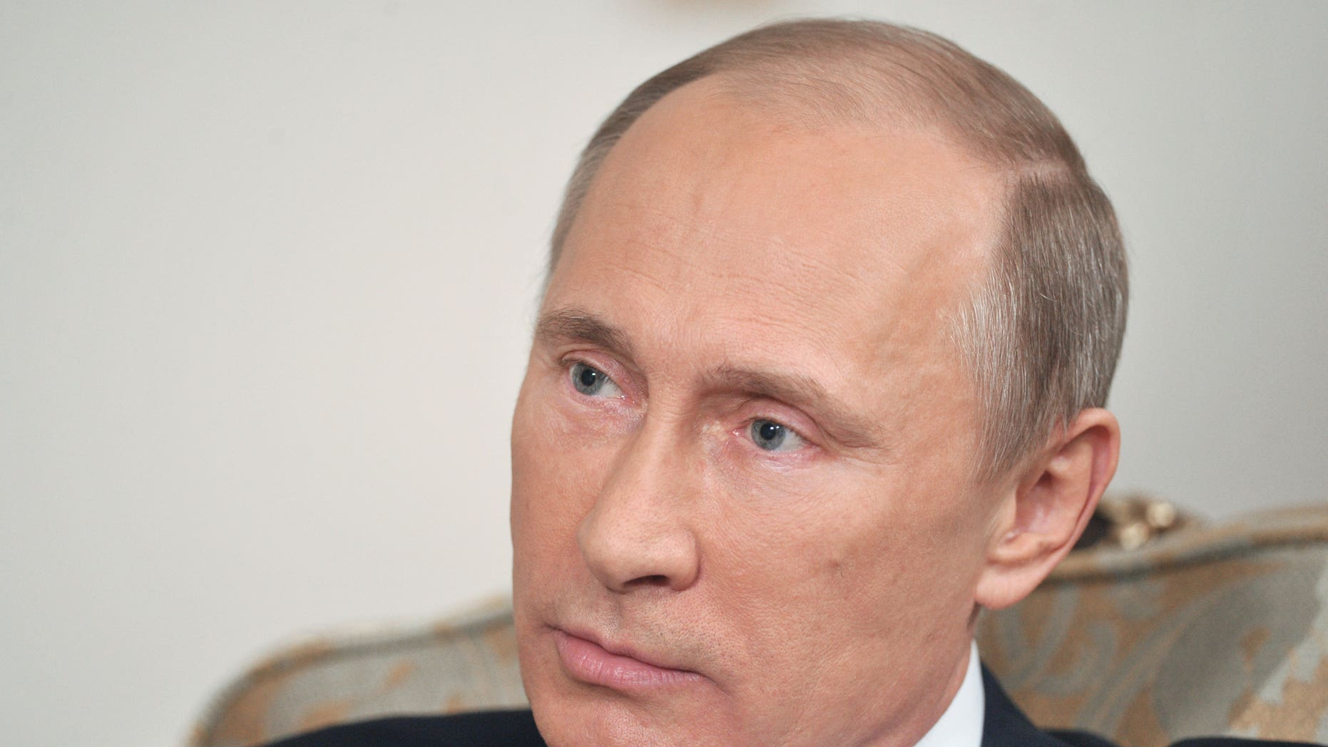 April 2, 2013: Russian President Vladimir Putin speaks during an interview with the German ARD television in the Novo-Ogaryovo residence outside Moscow, Russia.
