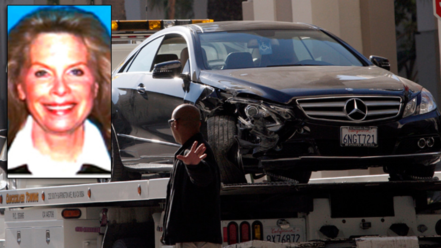 Nov. 16: The damaged Mercedes E350 in which well-known Hollywood publicist Ronni Chasen, inset, was shot several times in the chest and killed in Beverly Hills, Calif.