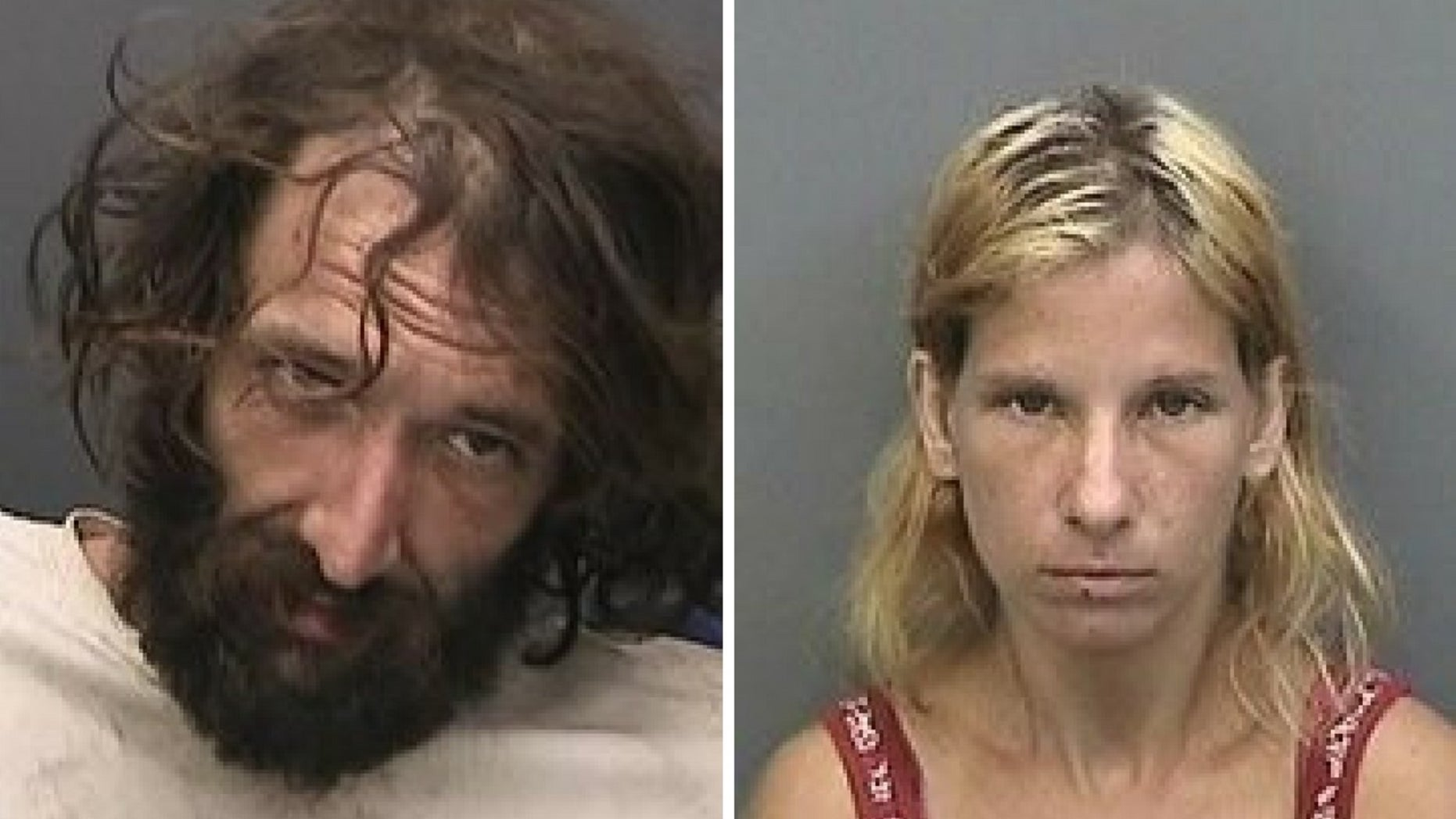 Randy Lee Betts, left, and Ashley DeSouza were arrested in Seffner, Fla., on Monday, July 9, 2018.