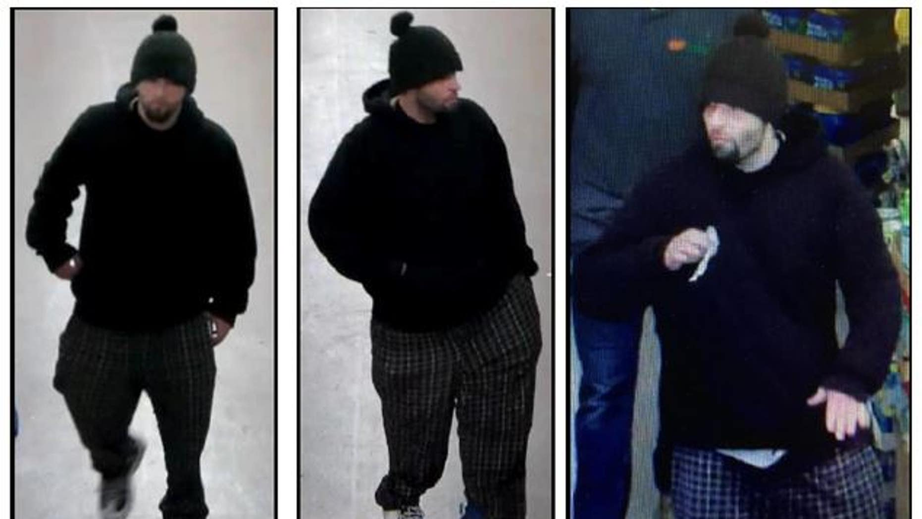 Police released these images of the suspect on the loose.