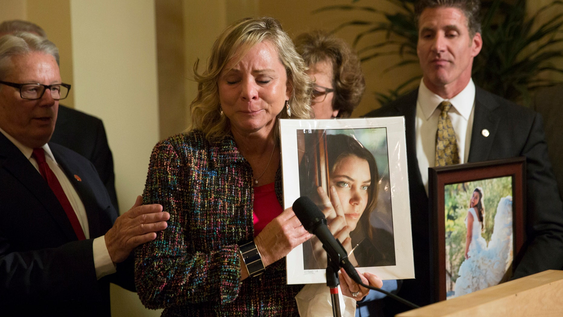 FILE 2015: Debbie Ziegler, mother of Brittany Maynard, speaks to the media after the passage of legislation, which would allow terminally ill patients to legally end their lives, at the state Capitol, in Sacramento.