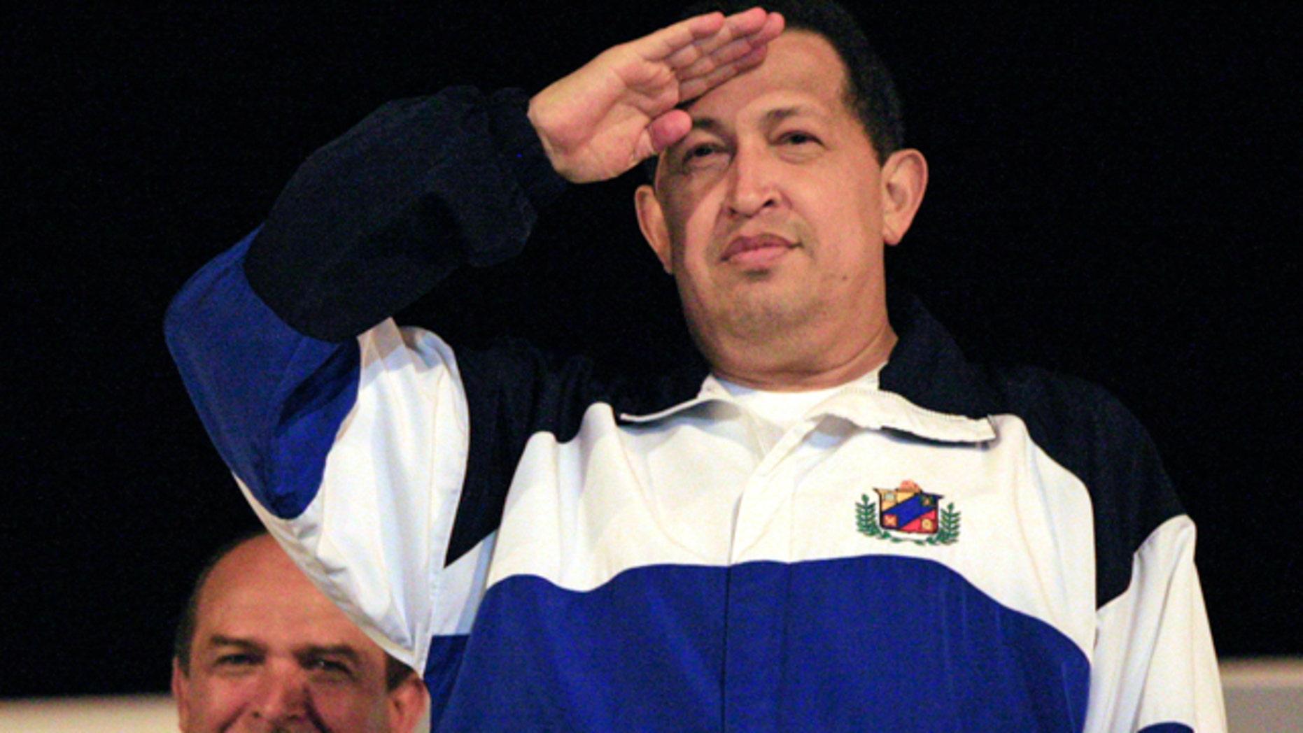 July 4: President Hugo Chavez salutes before his departure to Venezuela from the Jose Marti International Airport in Havana, Cuba.