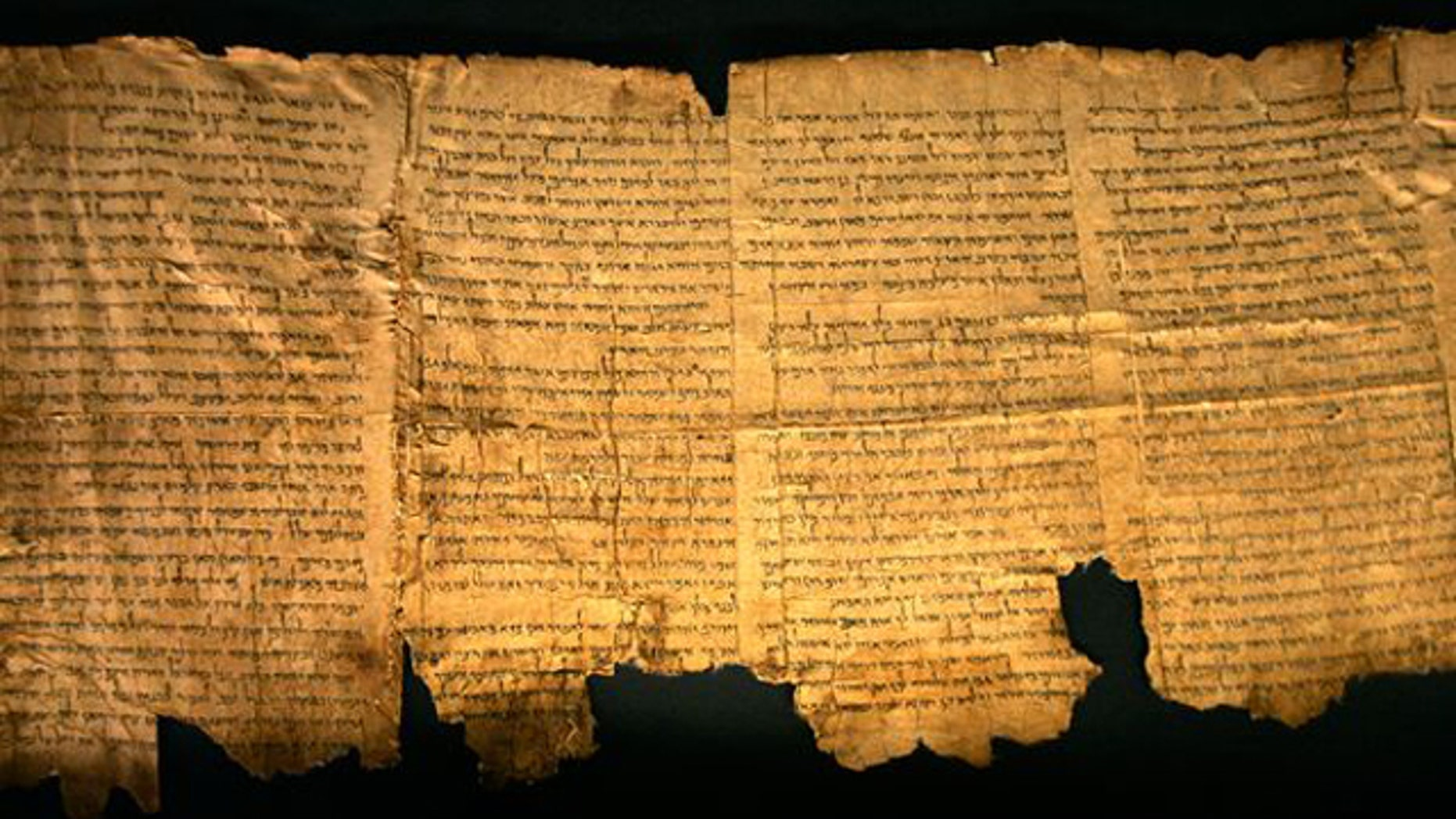 Sections of the Dead Sea Scrolls on display at the Israel Museum in Jerusalem in 2008.