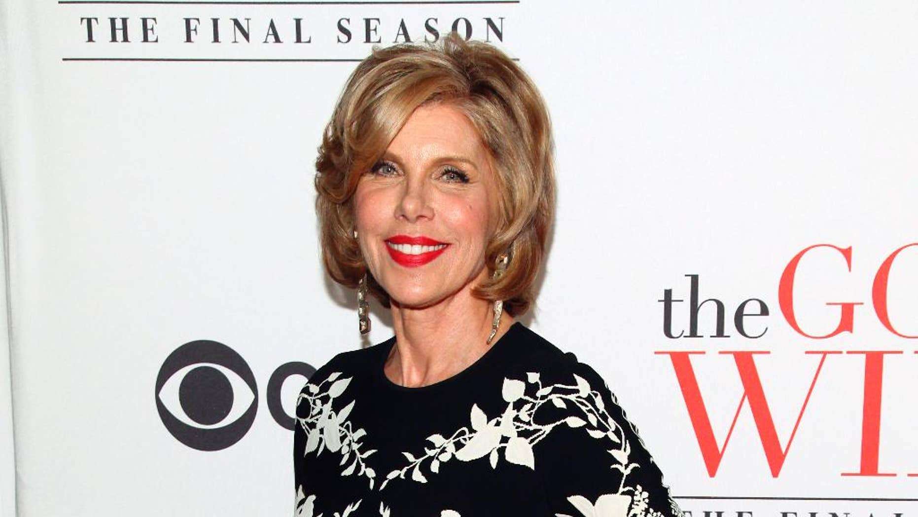 """In this April 28, 2016 file photo, Christine Baranski attends """"The Good Wife"""" series finale party in New York."""