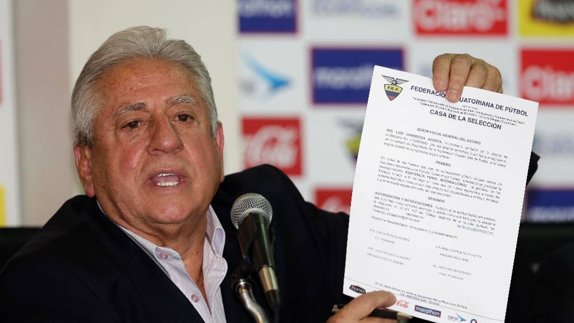 FILE - This June 1, 2015 file photo shows Luis Chiriboga, Ecuadorean Football Federation president, at a press conference in Quito. Chiriboga was convicted Friday, Nov. 18, 2016 of money laundering and given a 10-year sentence in a case tied to the corruption scandal at FIFA, the sport's international governing body. (AP Photo/Dolores Ochoa, File)