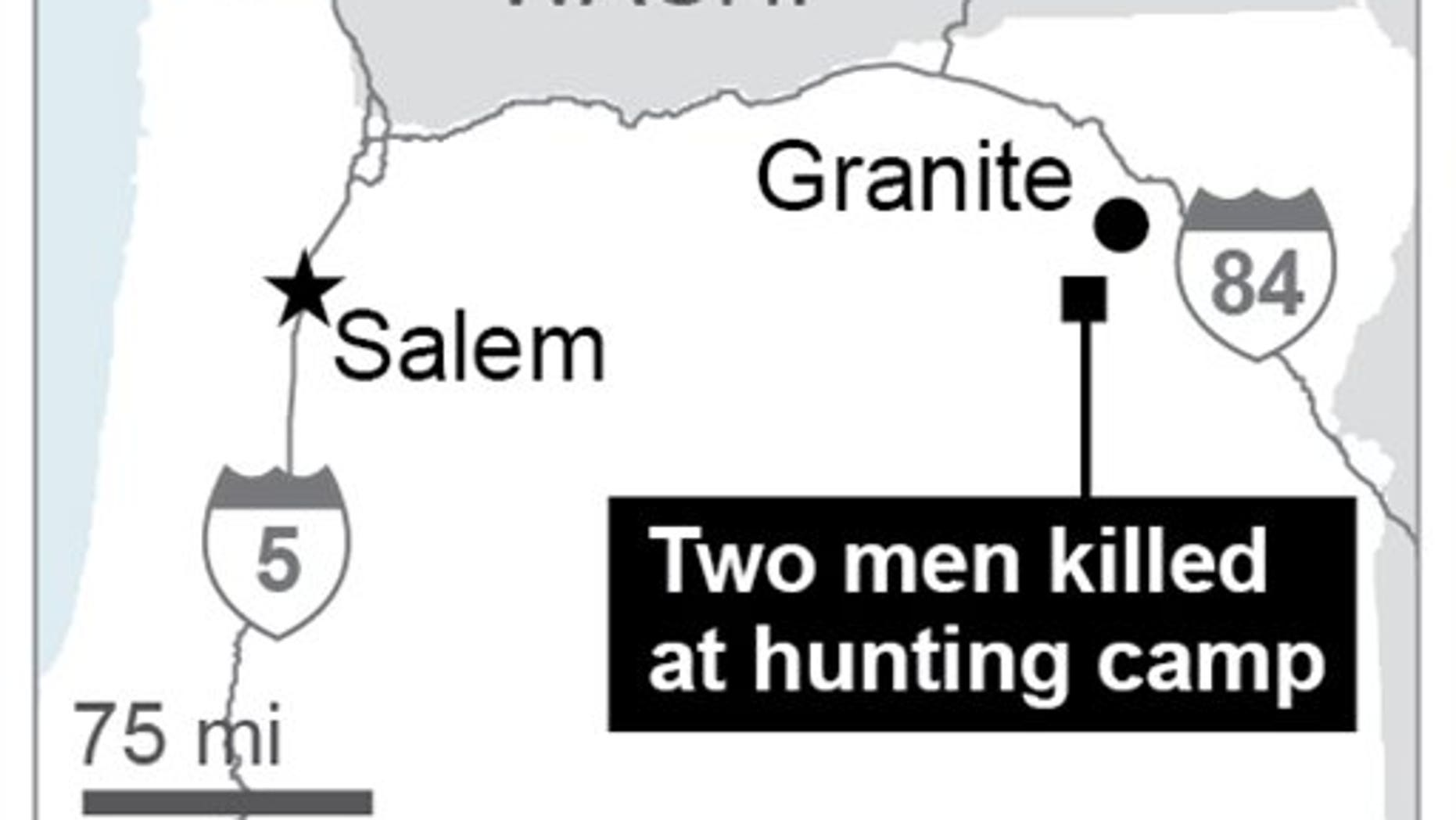 Map locates area where shootings took place; 1c x 2 inches; 46.5 mm x 50 mm;