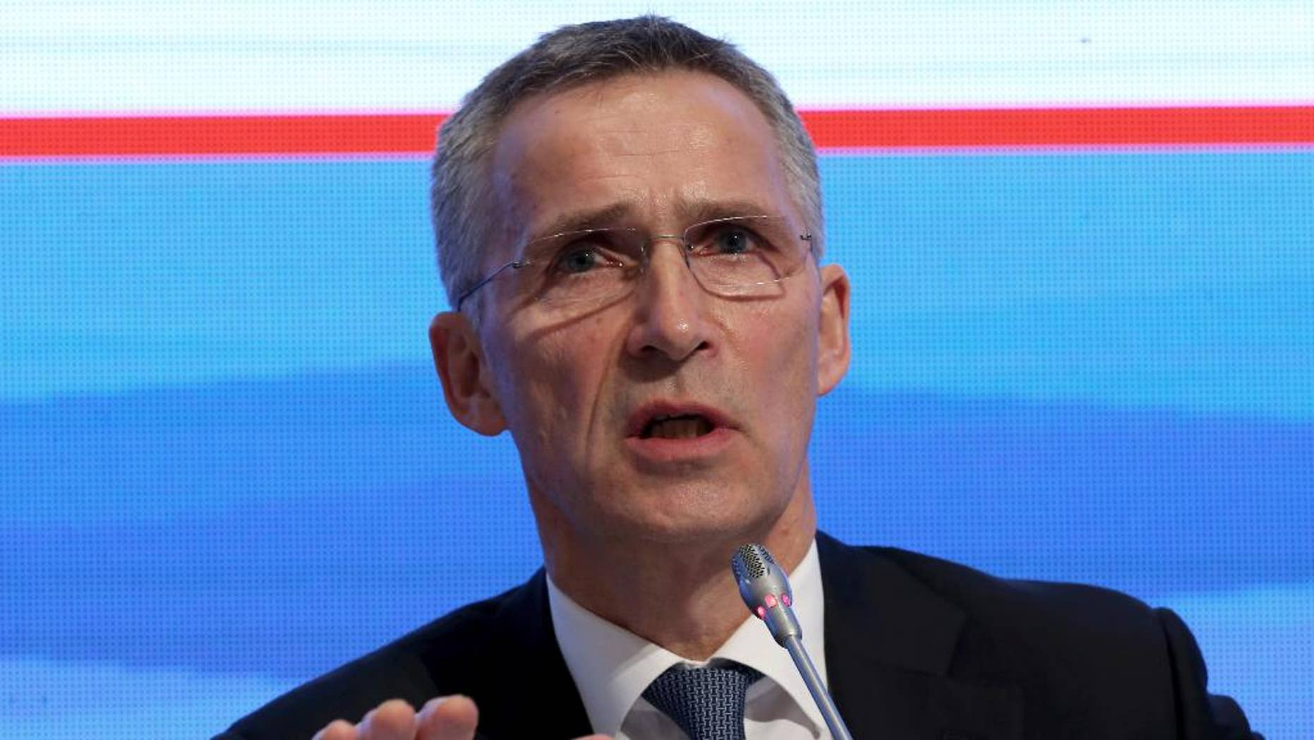 """NATO Secretary General Jens Stoltenberg addresses a NATO parliamentary assembly meeting in Istanbul, Monday, Nov. 21, 2016. Talking about latest situation, Stoltenberg said that """" We have seen a significant buildup of Russia in Syria; they have conducted air strikes again and again, civilians, innocent people are killed and critical infrastructure such as hospitals are attacked and the humanitarian tragedy in Syria becomes even worse.""""(AP Photo)"""