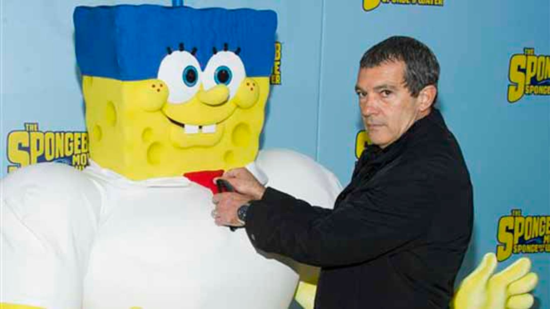 "Antonio Banderas attends the world premiere of ""The Spongebob Movie: Sponge Out of Water"" at AMC Lincoln Square on Saturday, Jan. 31, 2015, in New York. (Photo by Charles Sykes/Invision/AP)"