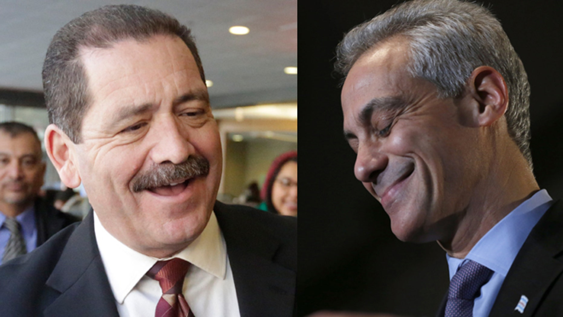 "Left: Chicago mayoral candidate, Cook County Commissioner Jesus ""Chuy"" Garcia on Monday, Feb. 23, 2015, in Chicago.(AP Photo/M. Spencer Green) Right: Chicago Mayor Rahm Emanuel on Tuesday, Feb. 24, 2015, in Chicago. (AP Photo/Charles Rex Arbogast)"