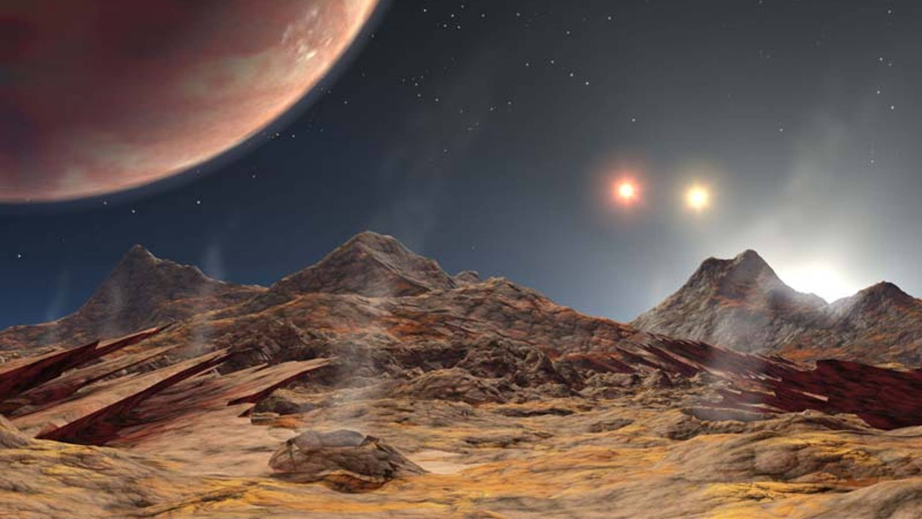 An artist's illustration of exoplanet in a triple-star system.