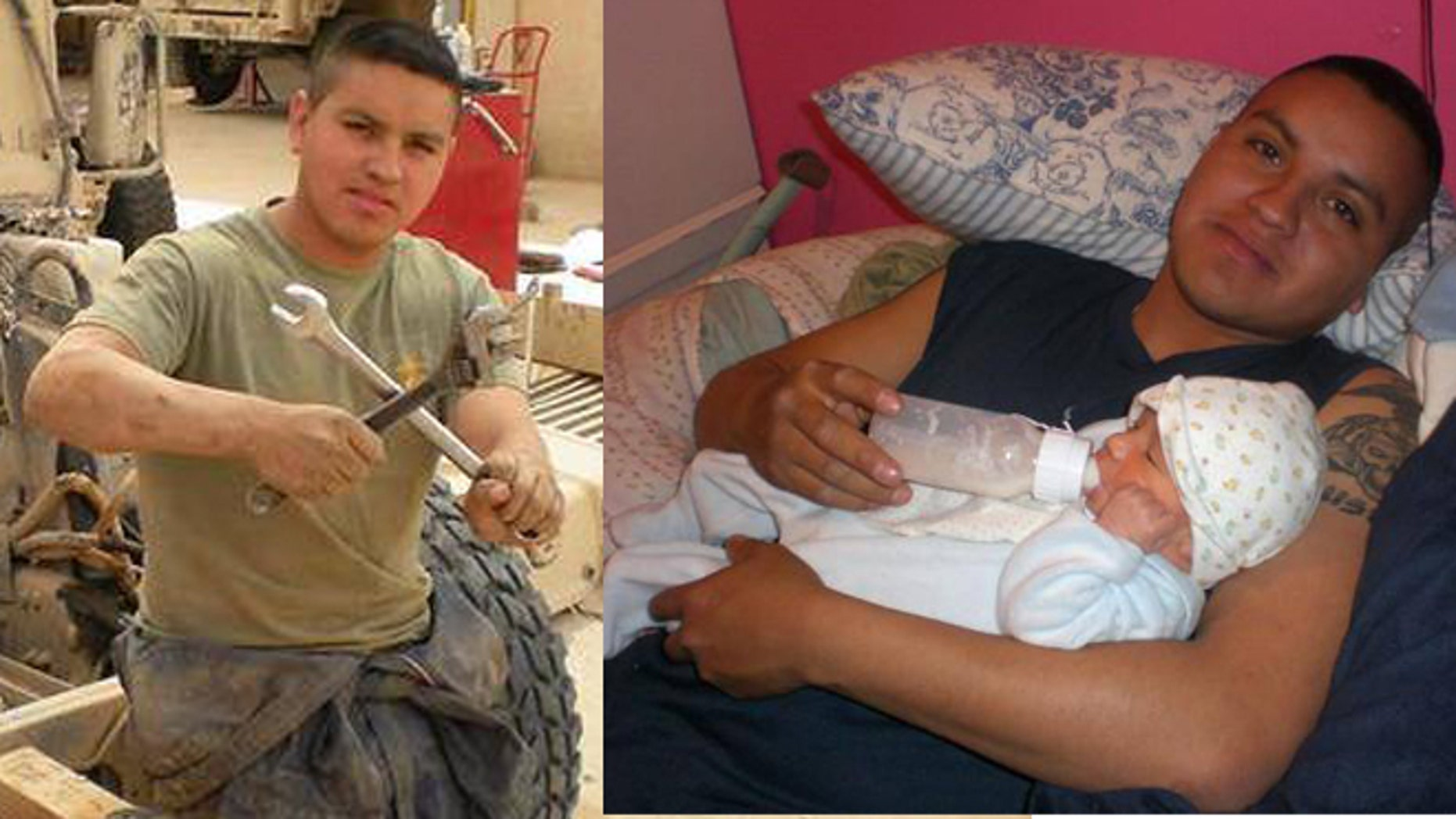 Armando Torres, 25, served with the marines from 2005 to 2011 (pictured left). He is the father of two sons. (pictured right).