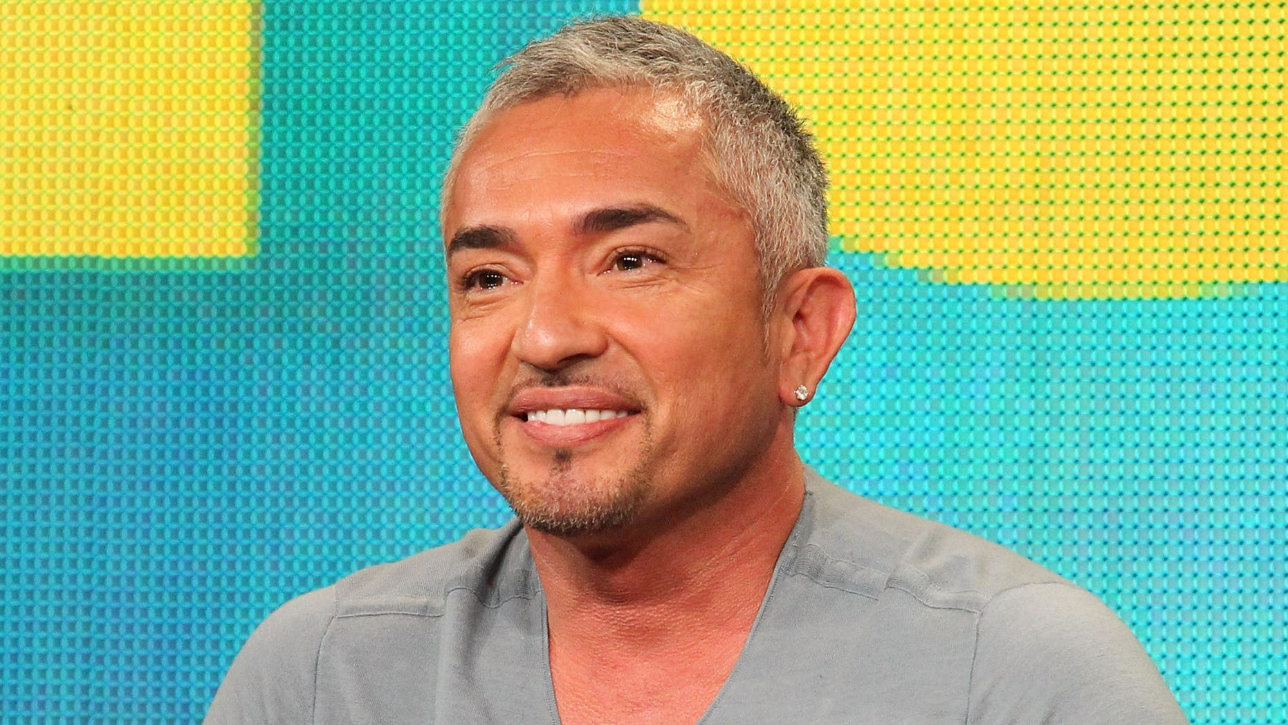"""PASADENA, CA - JANUARY 13:  Cesar Millan of the television show """"Dog Whisperer with Cesar Millan"""" speaks during the National Geographic Channel and Nat Geo WILD portion of the 2012 Television Critics Association Press Tour at The Langham Huntington Hotel and Spa on January 13, 2012 in Pasadena, California.  (Photo by Frederick M. Brown/Getty Images)"""