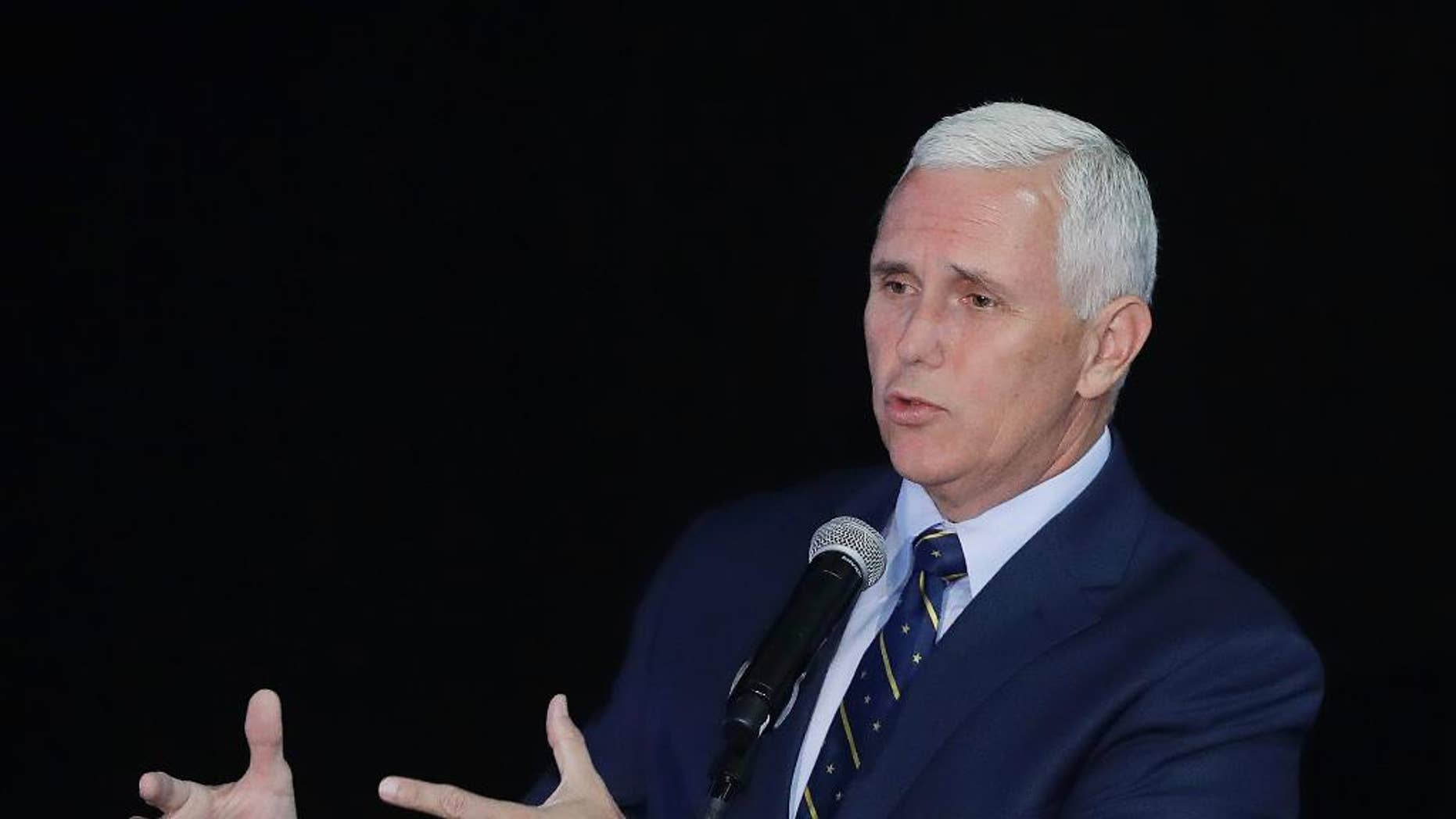 FILE - In this July 14, 2016 file photo, Indiana Gov. Mike Pence speaks in Indianapolis. Republican presidential candidate Donald Trump says on Twitter that he has picked Pence as his running mate. (AP Photo/Darron Cummings, File)