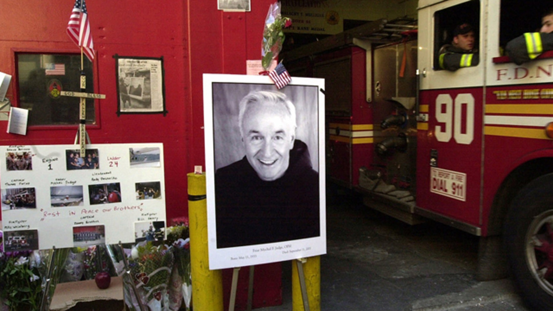 FILE: Memorial for Mychal Judge, New York Fire Department chaplain, and other firefighters lost in World Trade Center attack.