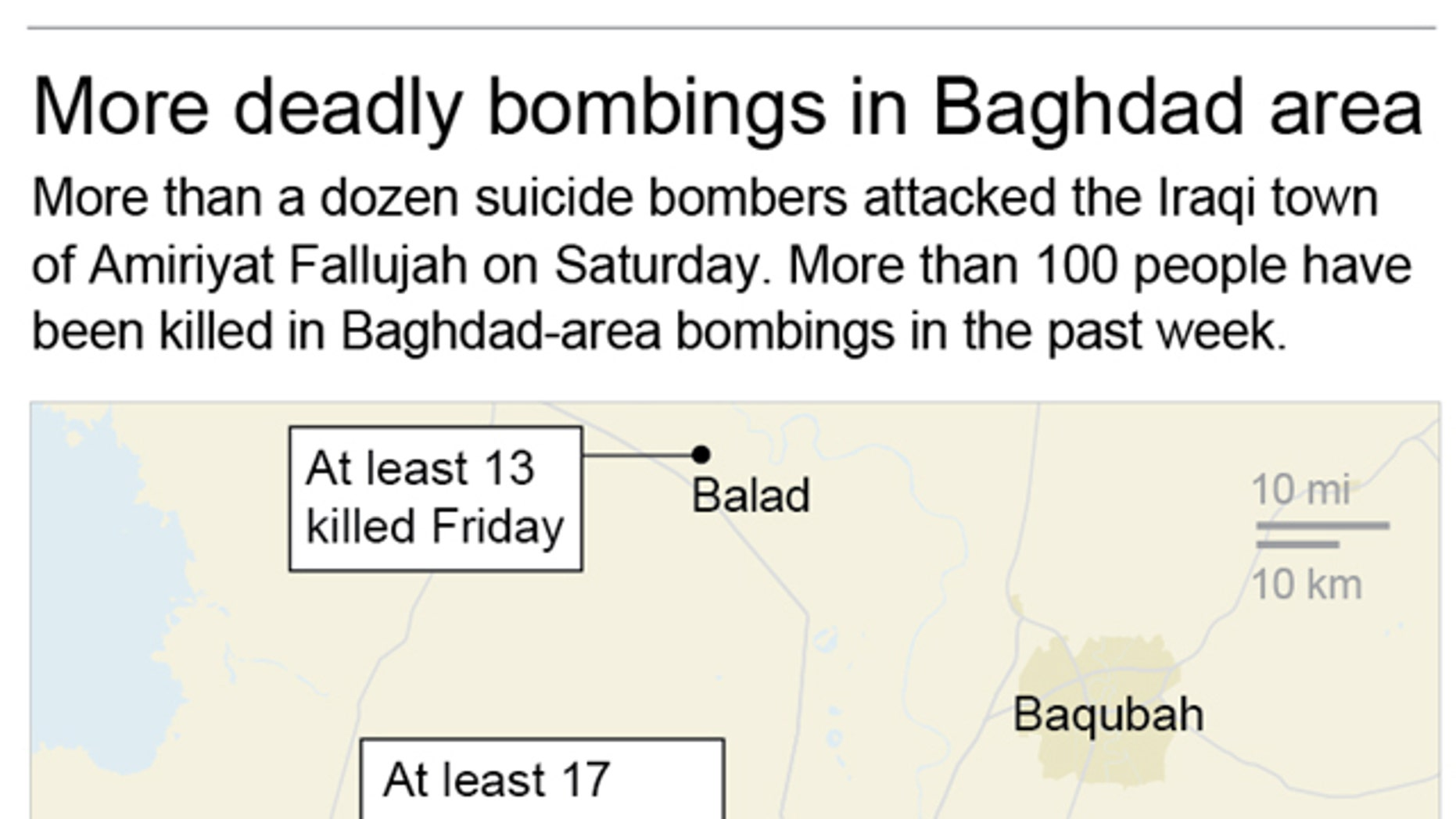 Map locates areas in and near Baghdad where there have been deadly bombings in the past week; 2c x 3 1/4 inches; 96.3 mm x 82 mm;