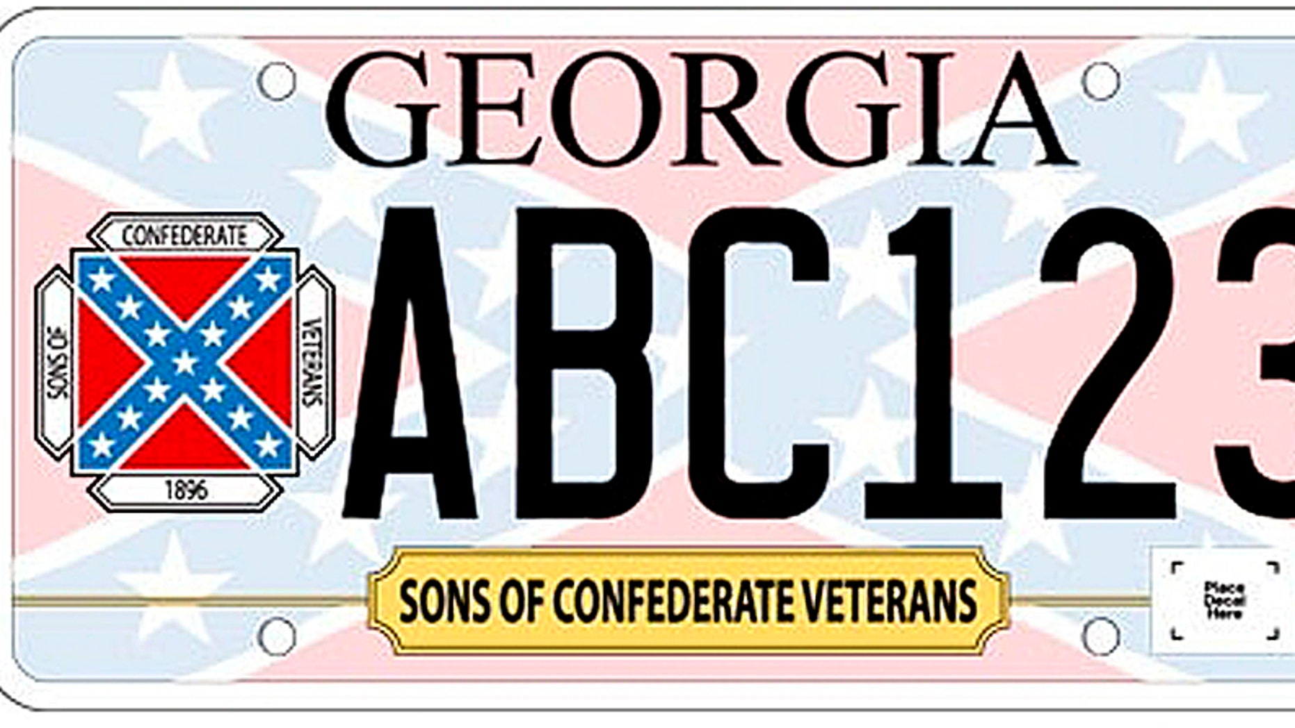 In this undated image released by the Georgia Department of Revenue, a new Georgia car tag is shown. Georgia officials are releasing a specialty license plate featuring the Confederate battle flag, infuriating civil rights advocates and renewing a fiery debate. The Georgia Division of the Sons of Confederate Veterans requested that the state issue the new plates. A spokesman says it meant no offense and that people have a right to commemorate their heritage.(AP Photo/Georgia Department of Revenue)
