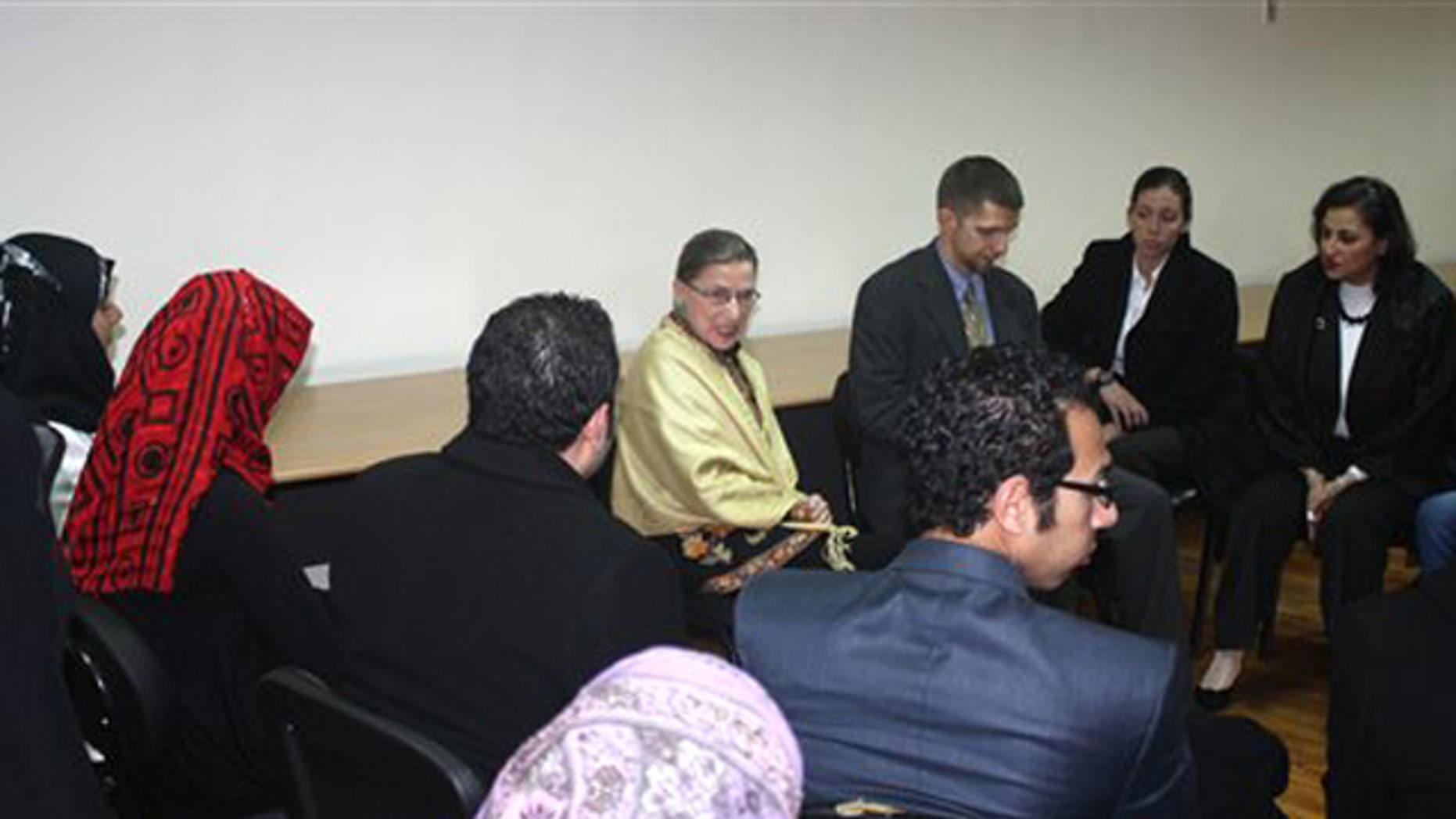 Feb. 1, 2012: Supreme Court Justice Ruth Bader Ginsburg is seen in Cairo, Egypt meeting with lawyers, judges, academics and students in two North African countries in which popular uprisings toppled longtime leaders last year.