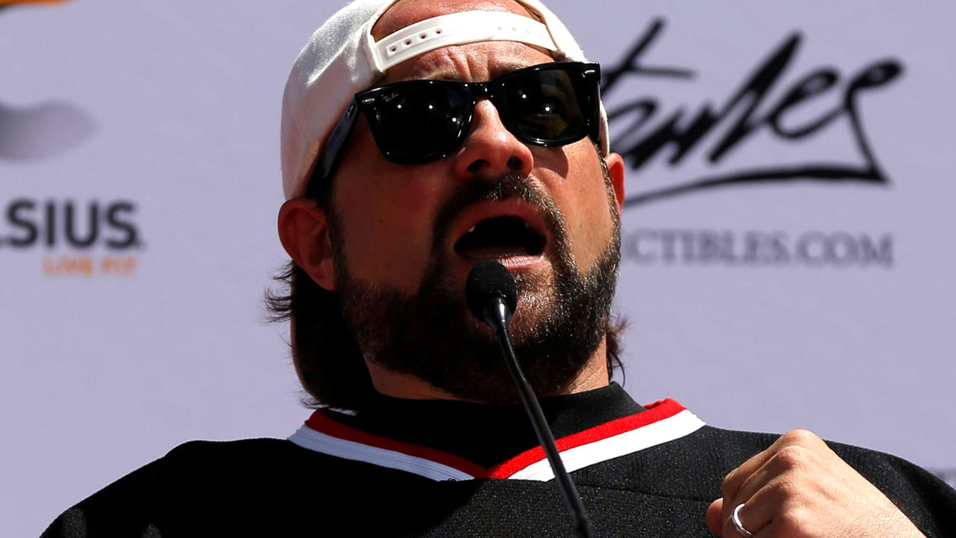 Director Kevin Smith, seen here in 2017, tweeted Monday that he suffered a massive heart attack.