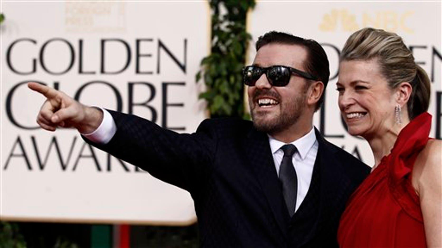 Ricky Gervais and girlfriend Jane Fallon. (AP)