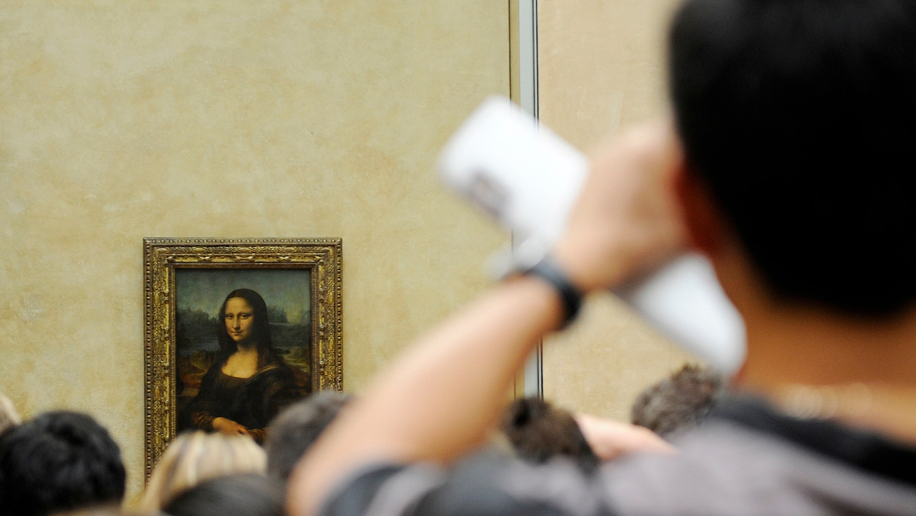 A tourist takes souvenir photos of Italian painter Leonardo da Vinci's famed portrait Mona Lisa at the Louvre Museum in Paris August 12, 2009. (REUTERS/Jacky Naegelen)