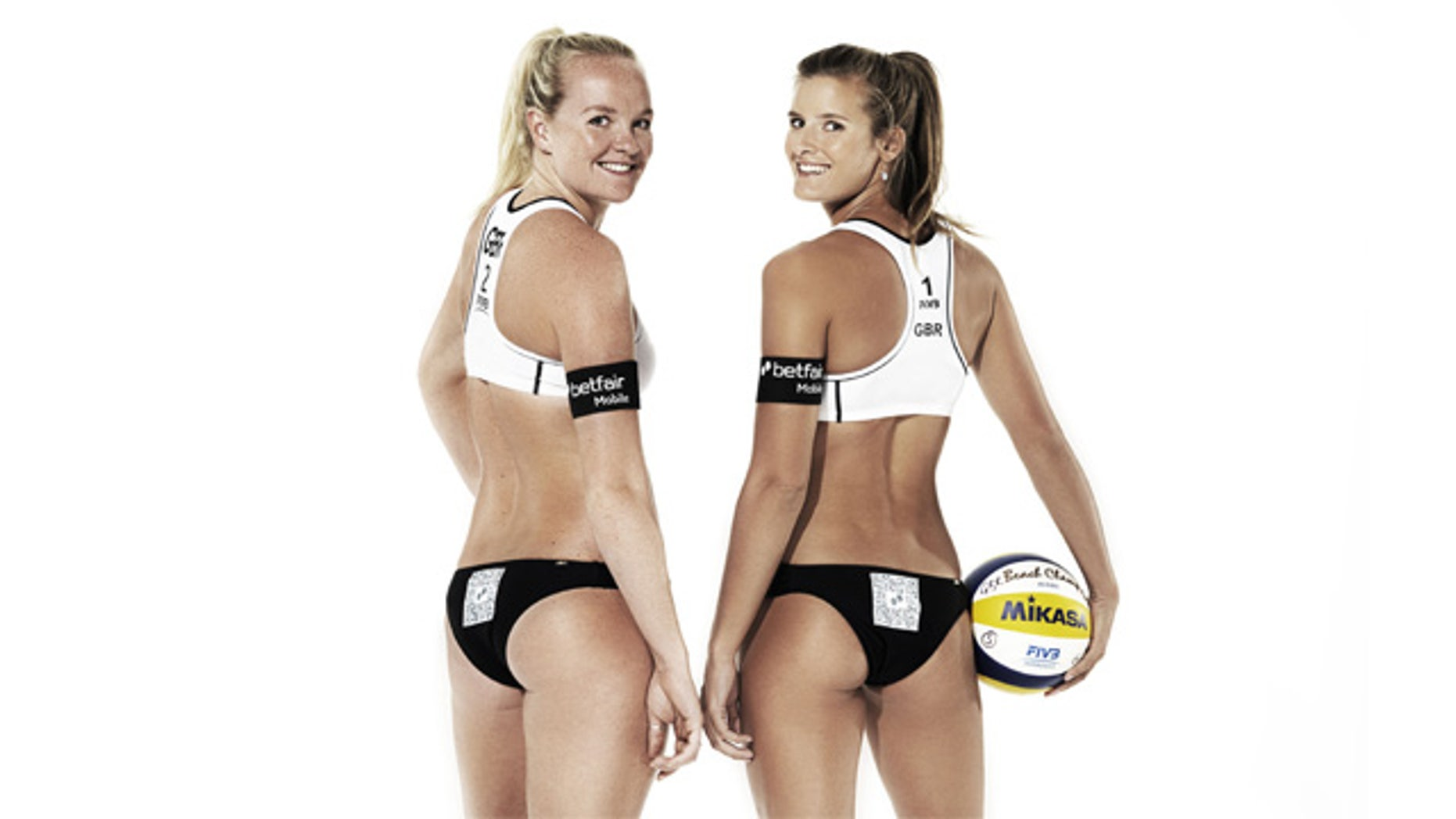 Shauna Mullin, left and Zara Dampney, show off a new ad campaign that features a Quick Response code on their bottoms.