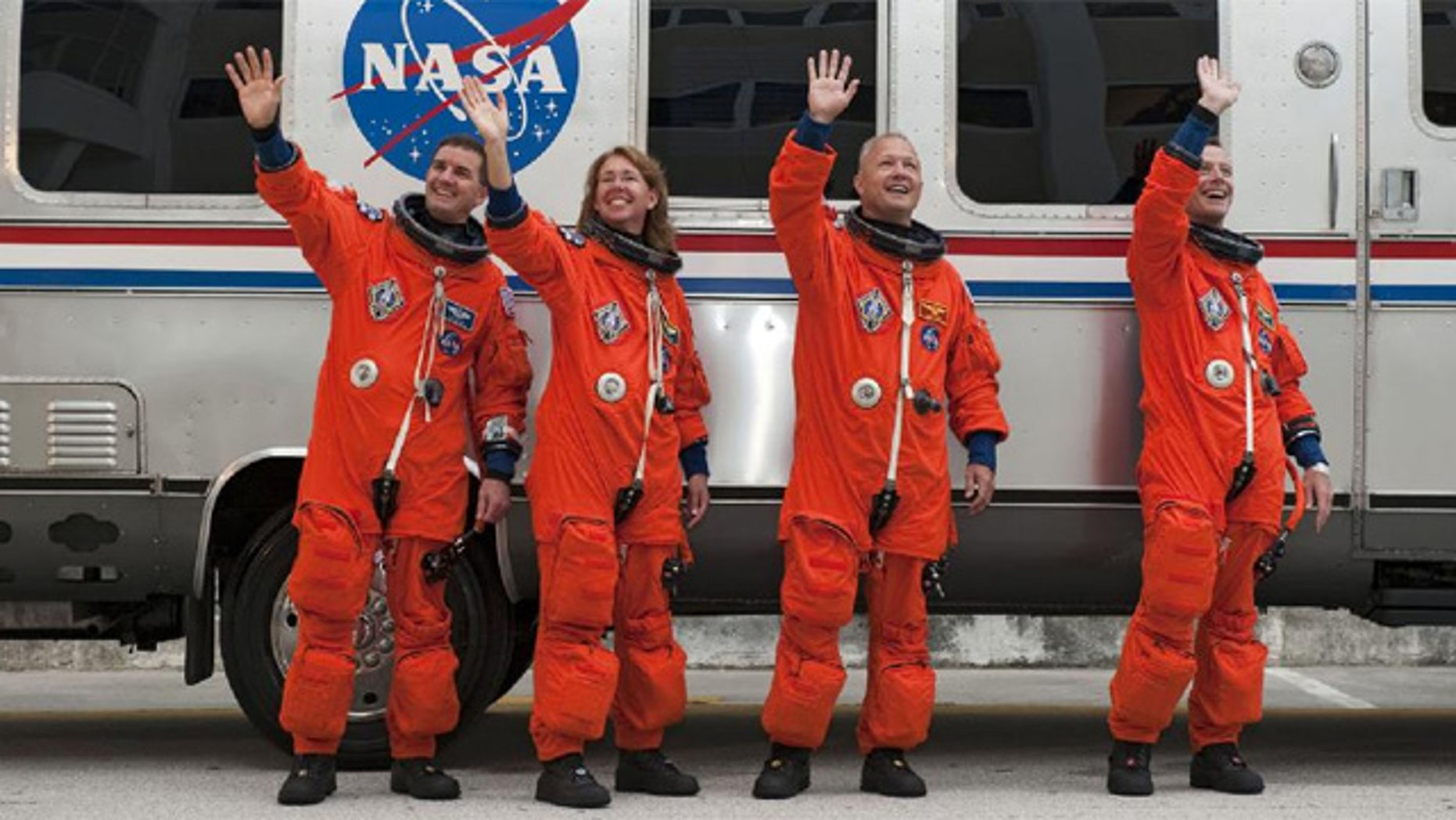 The final crew of Space Shuttle Atlantis (from left to right): mission specialists Rex Walheim and Sandy Magnus, pilot Doug Hurley, and command Chris Ferguson.