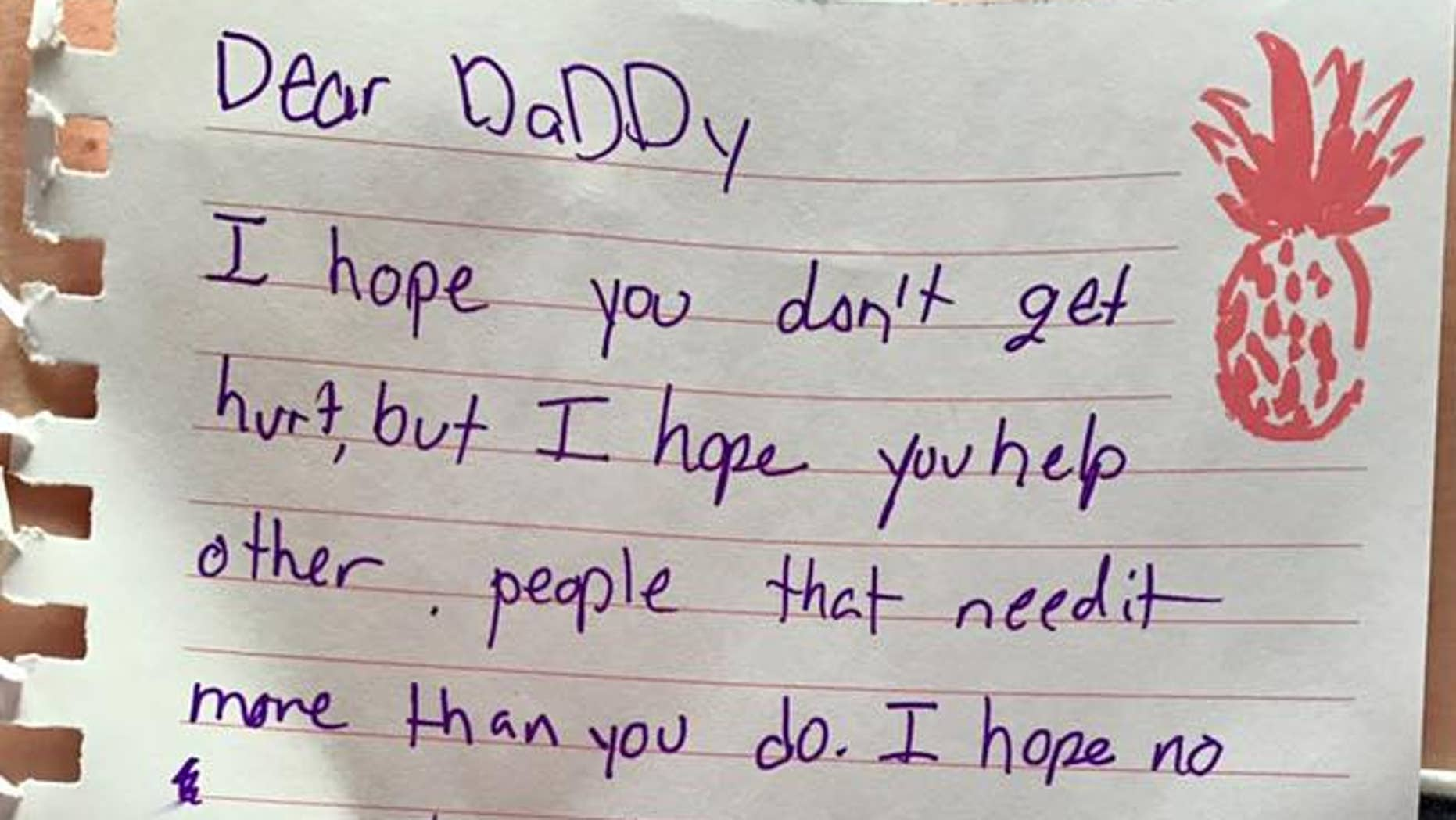 The children of a Texas police officer wrote their father a heartfelt note as he left to help victims of Harvey.