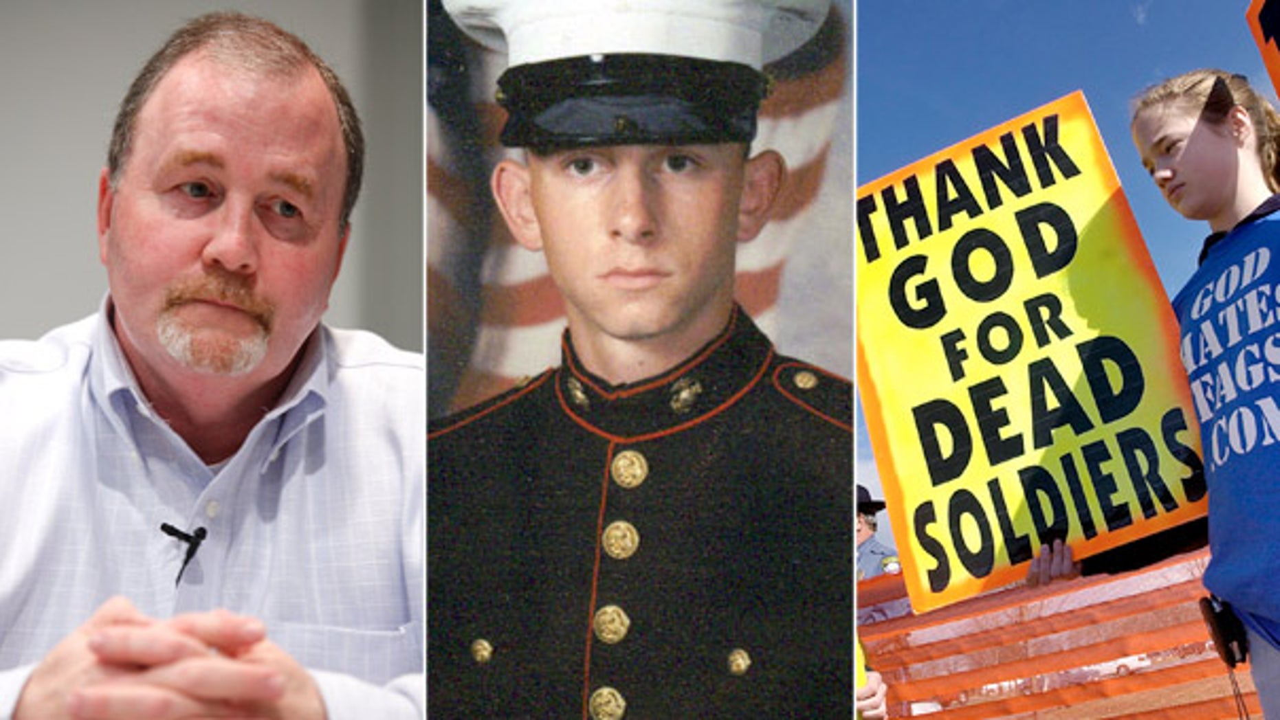 FILE: Albert Snyder, left, is the father of Lance Cpl. Matthew Snyder, center, whose funeral was picketed by members of the Westboro Baptist Church, which is vowing to hold protests at the funeral of 9-year-old Christina Green, who was killed by a gunman during a public meeting with Arizona Rep. Gabrielle Giffords in Tucson last weekend.