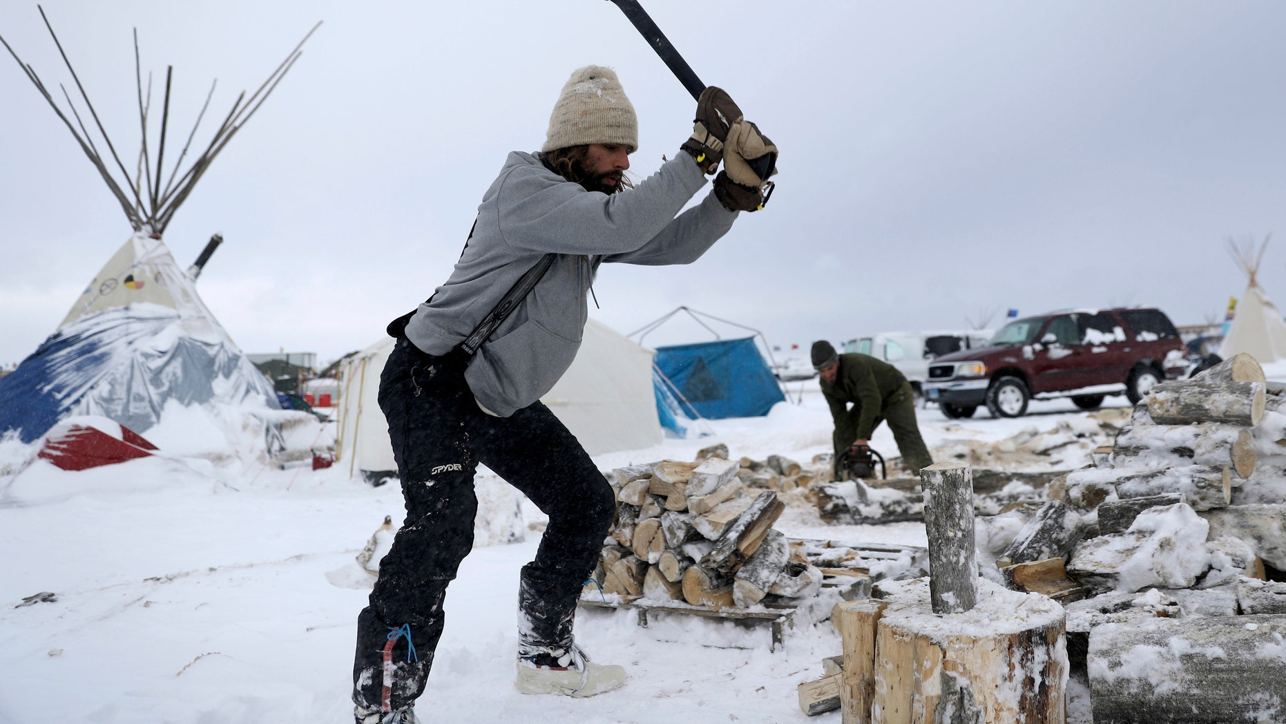 The Oceti Sakowin camp where people have gathered to protest the Dakota Access pipeline is seen near Cannon Ball, N.D.