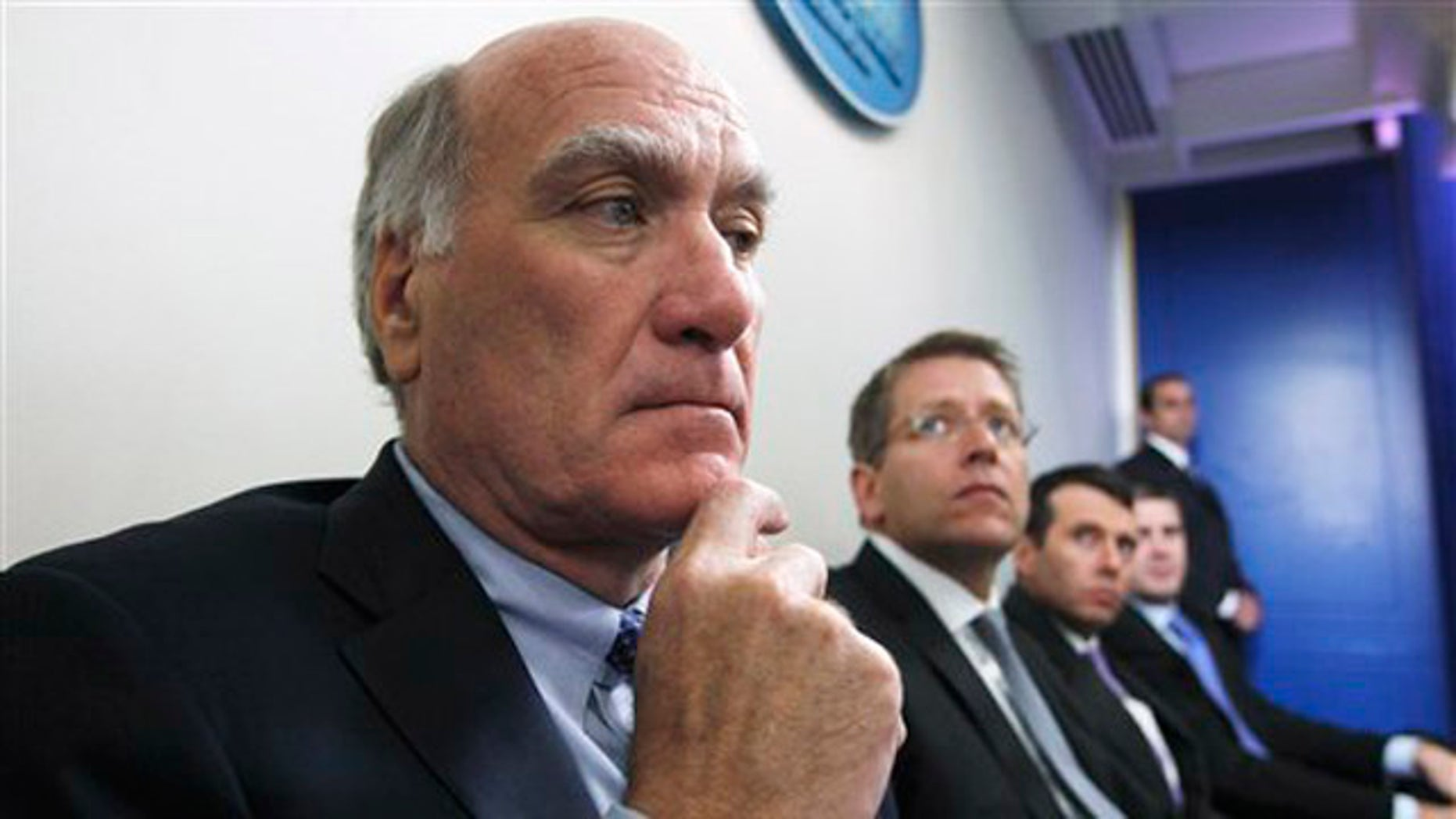 White House Chief of Staff William Daley, left, and others listen as President Obama speaks at the White House in Washington July 11 before meeting with Republican and Democratic leaders regarding the debt ceiling.
