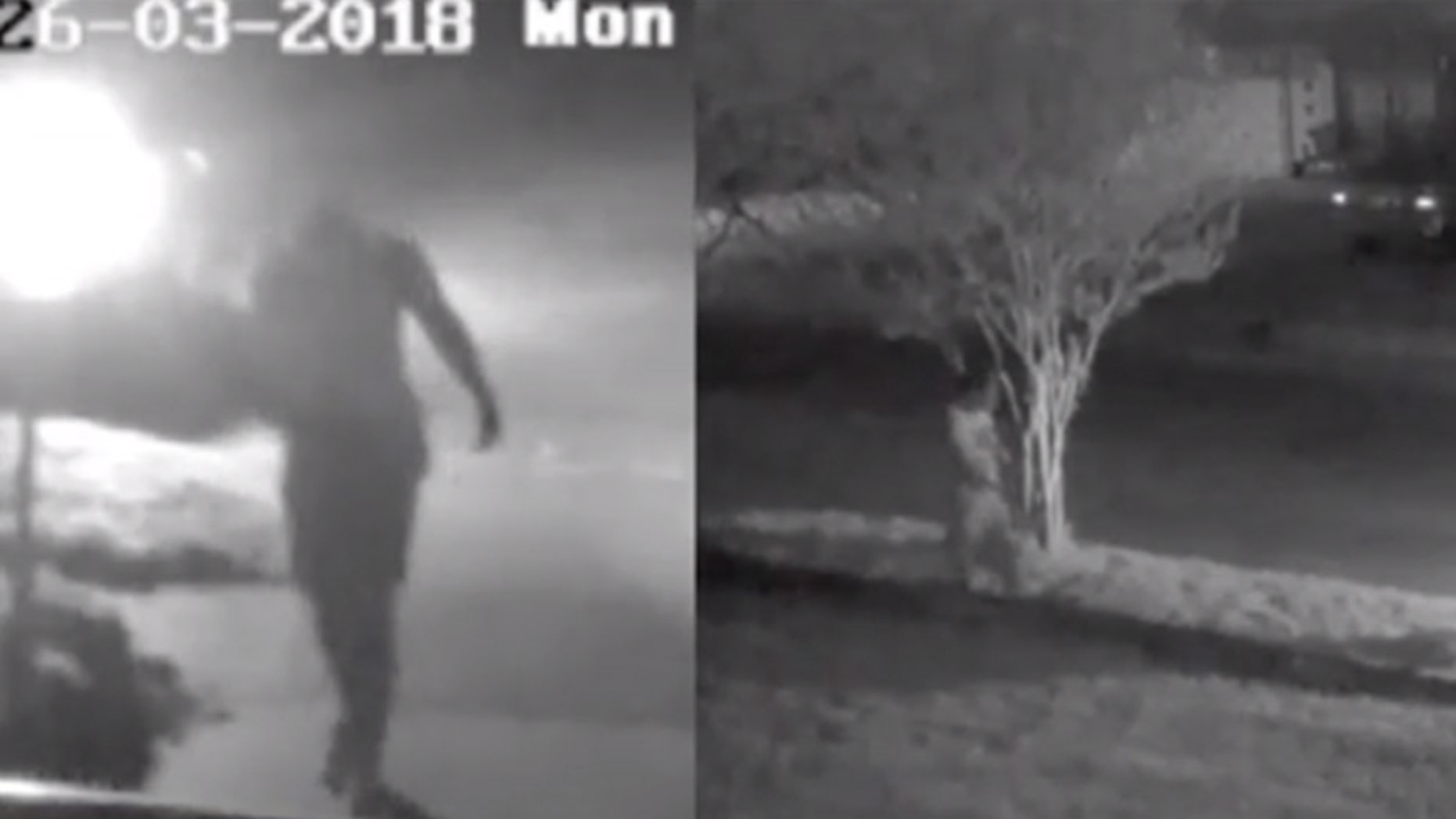 A man who swings his arms in a distinct walking motion is suspected in the murder of a Marine veteran in the Dallas area in March.